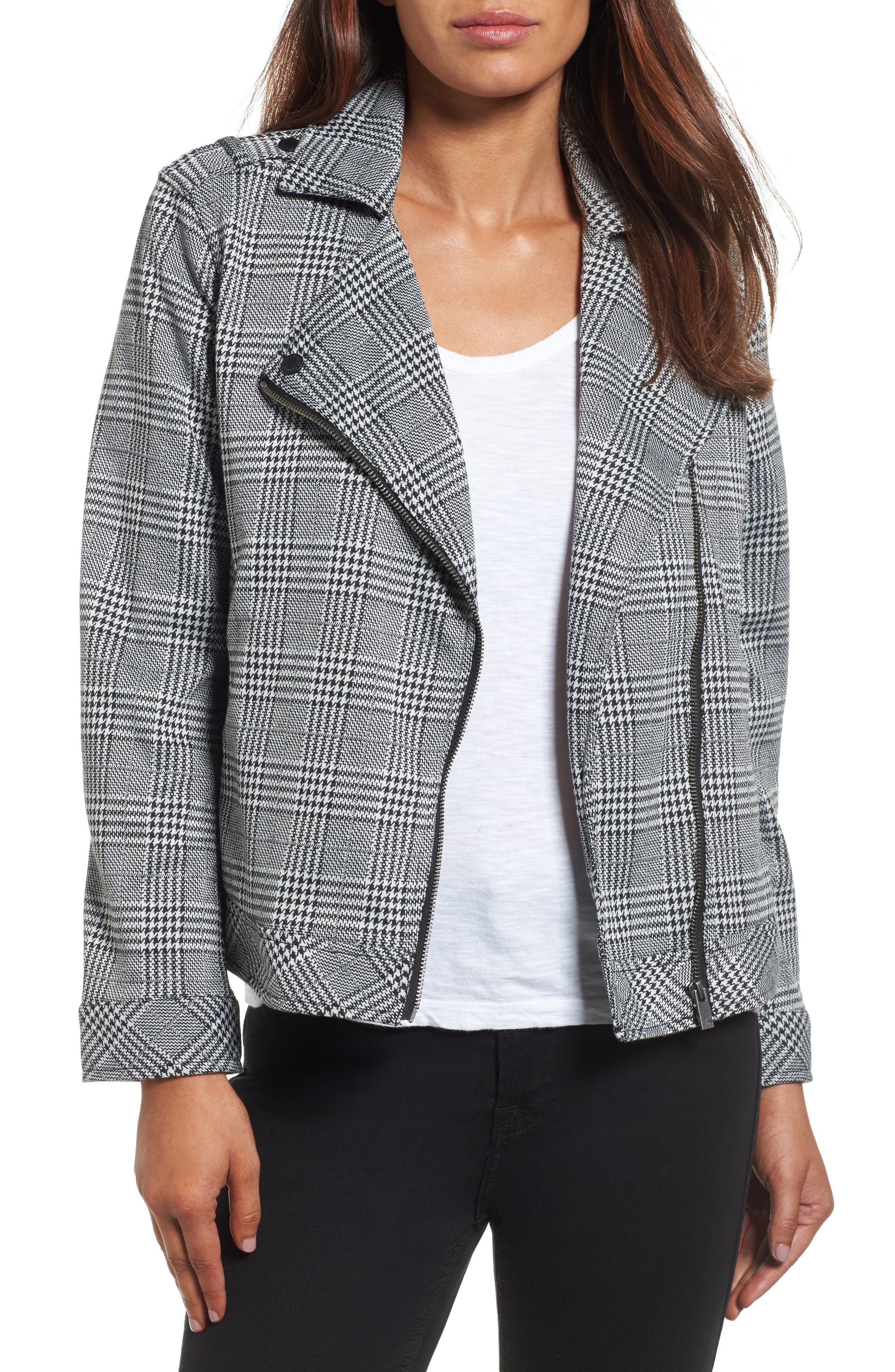 Two by Vince Camuto Textured Knit Plaid Jacket