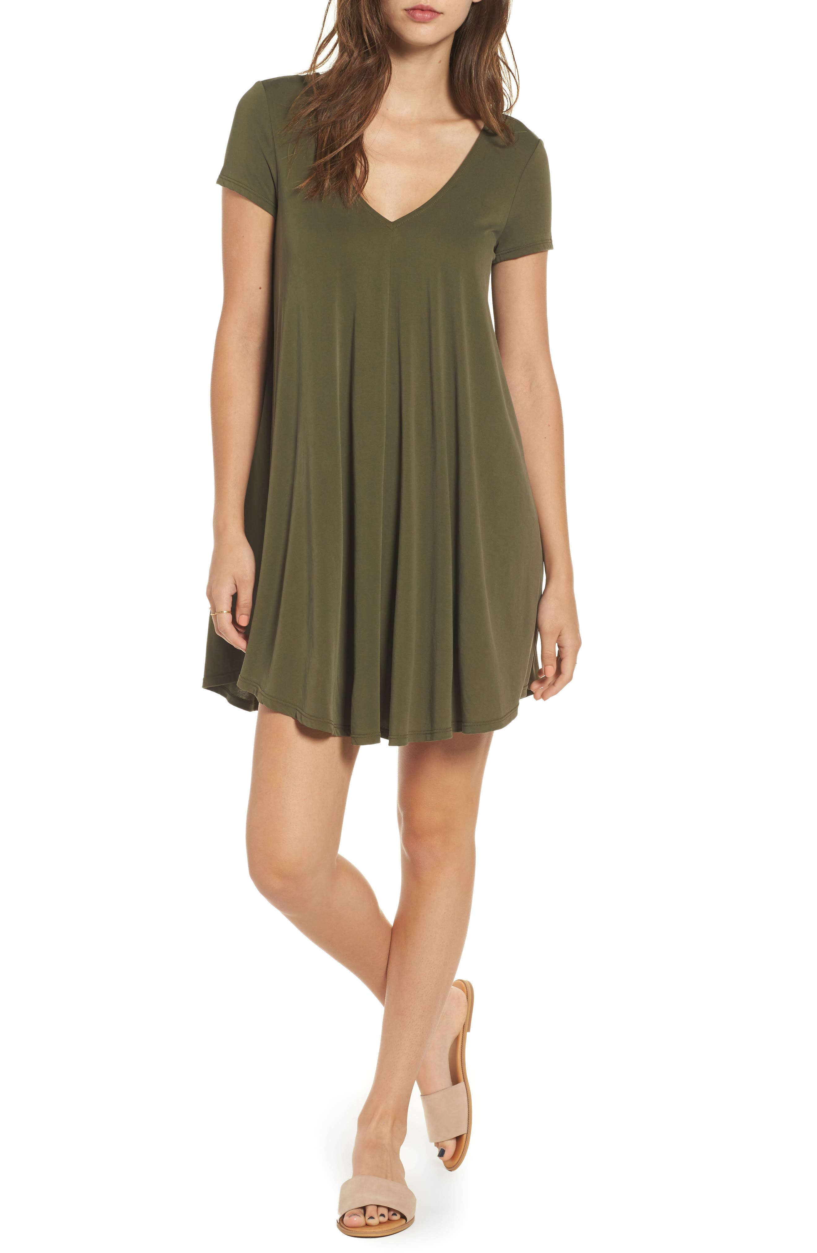 T-Back Swing Dress,                             Main thumbnail 1, color,                             Olive