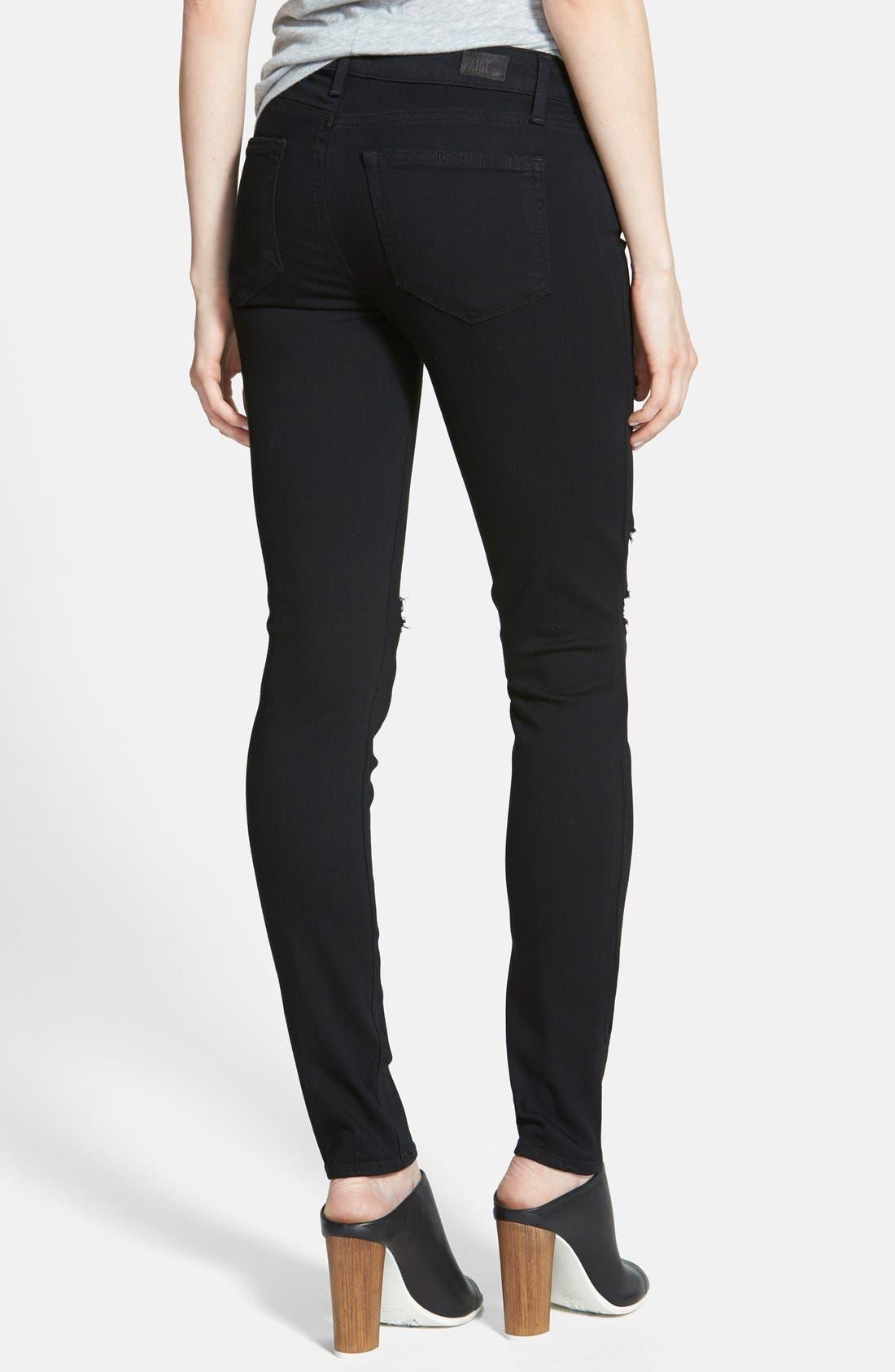 Transcend - Verdugo Ultra Skinny Jeans,                             Alternate thumbnail 2, color,                             Black Destructed