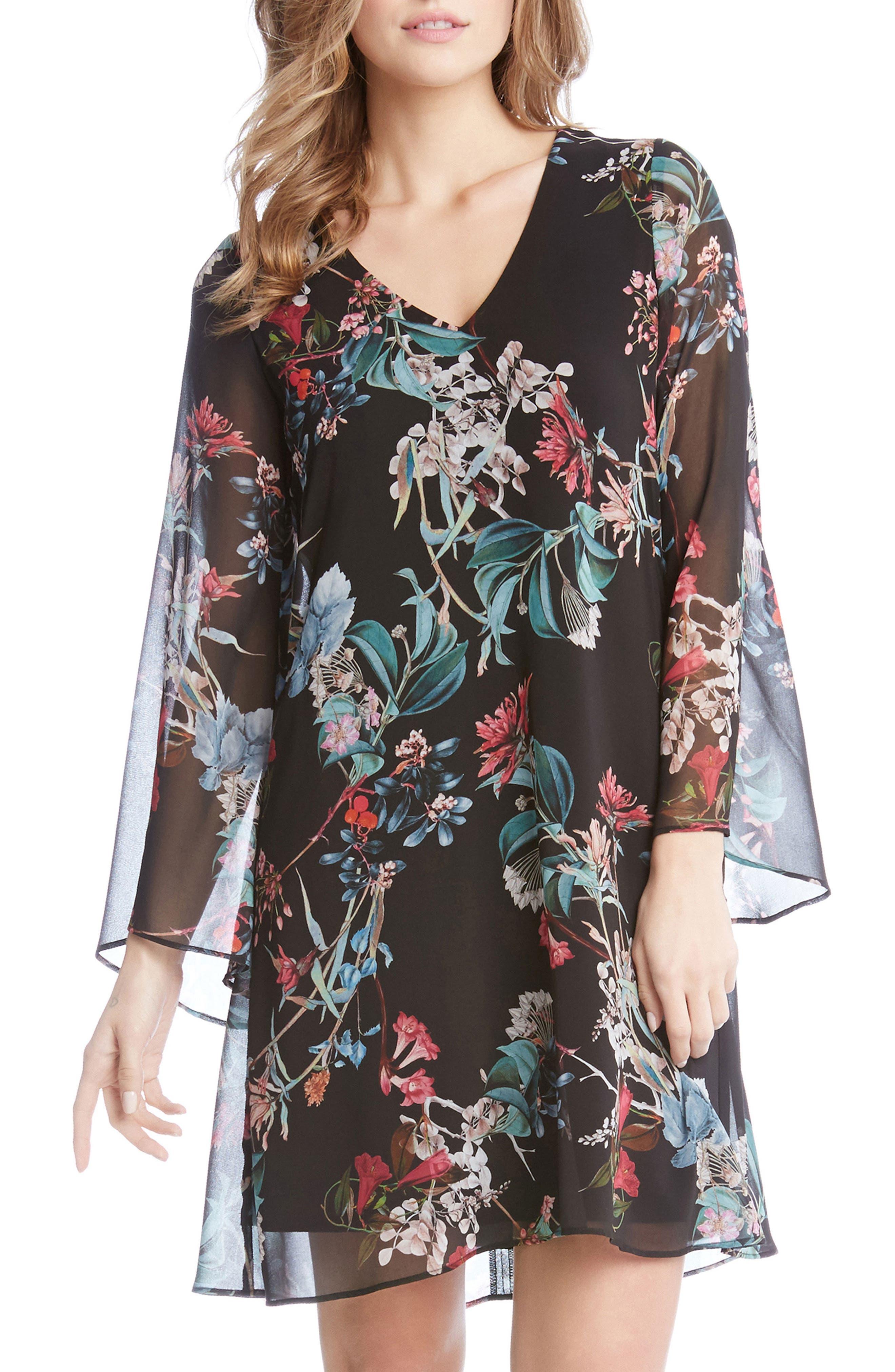 Bell Sleeve A-Line Dress,                         Main,                         color, Print