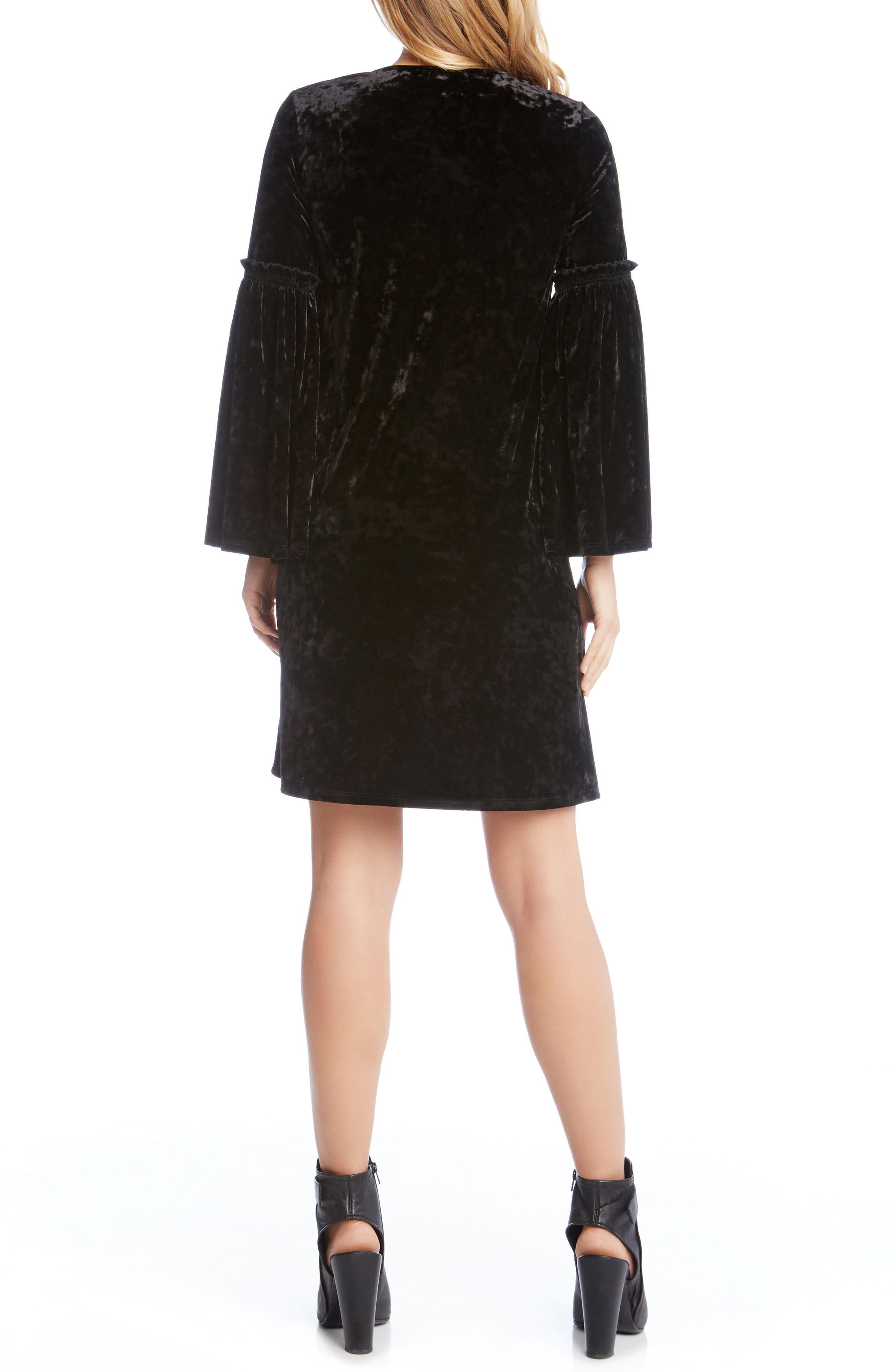 Bell Sleeve Velvet Shift Dress,                             Alternate thumbnail 3, color,                             Black