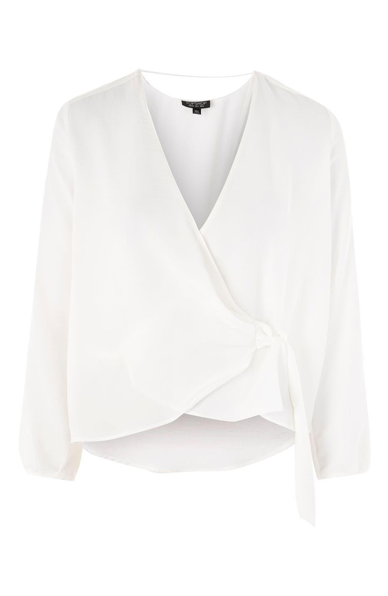 Wrap Tuck Blouse,                             Alternate thumbnail 3, color,                             Ivory