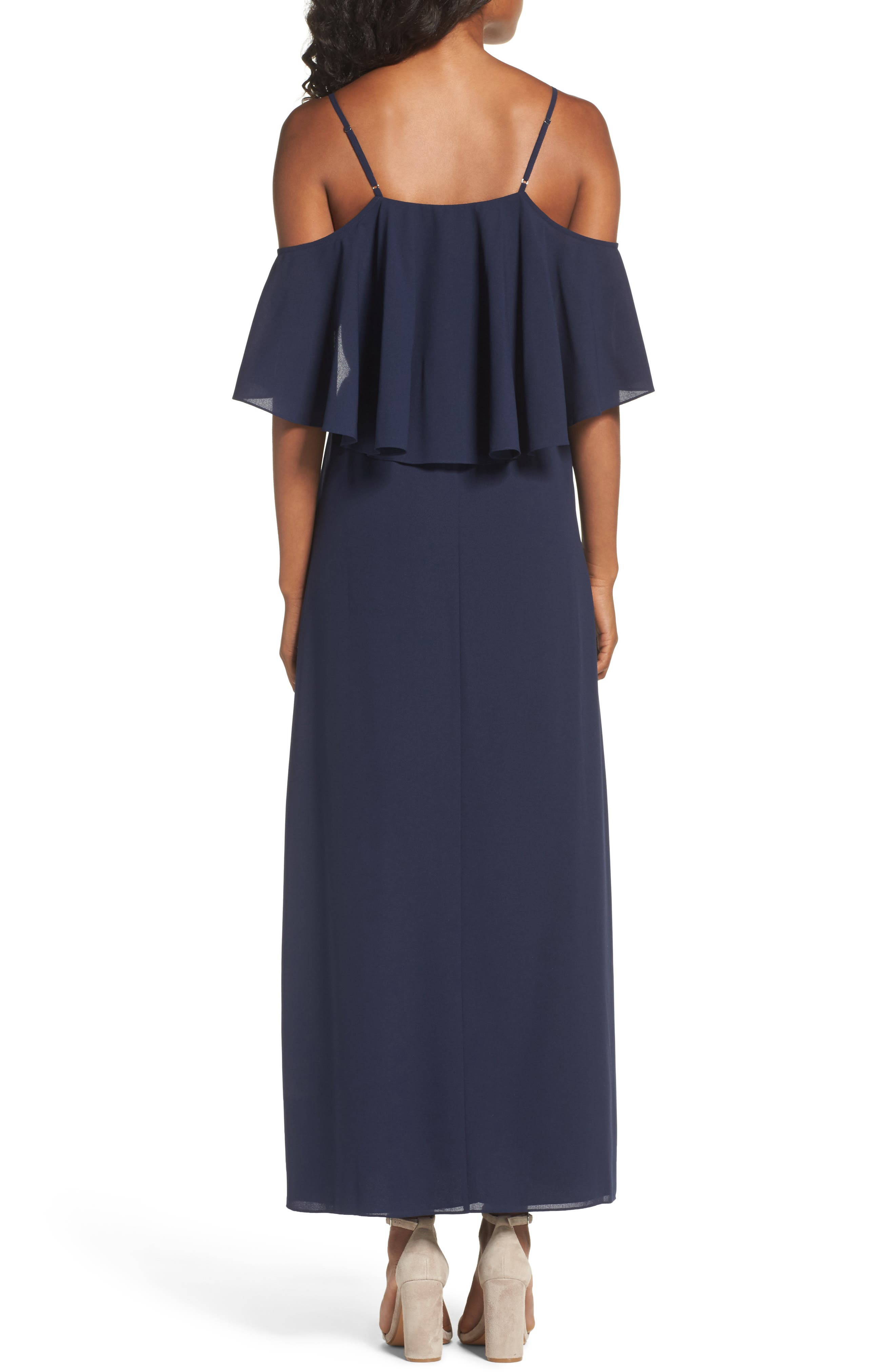 Love Story Cold Shoulder Maxi Dress,                             Alternate thumbnail 3, color,                             Navy