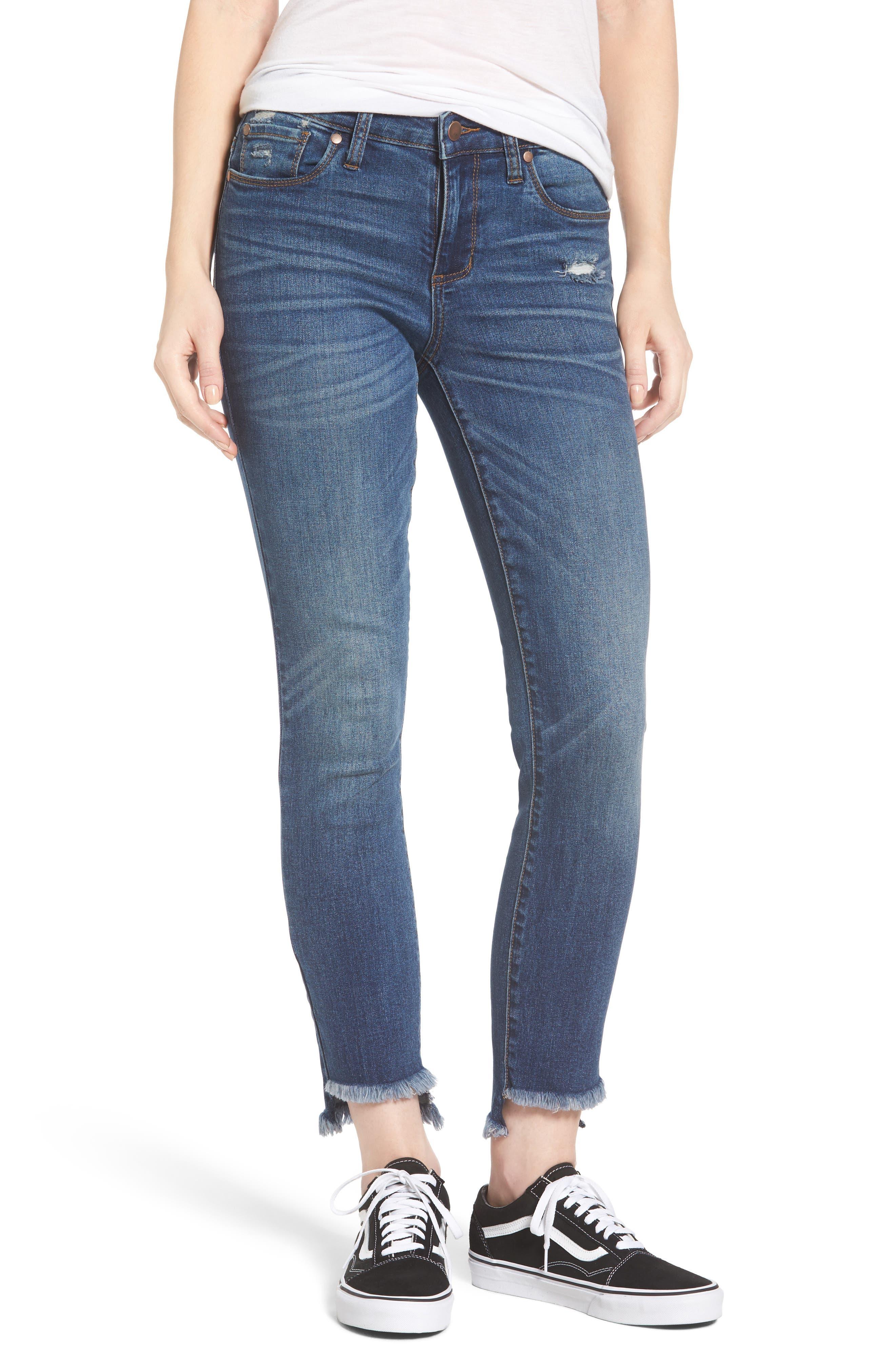 Step Hem Skinny Jeans,                         Main,                         color, Medium Wash