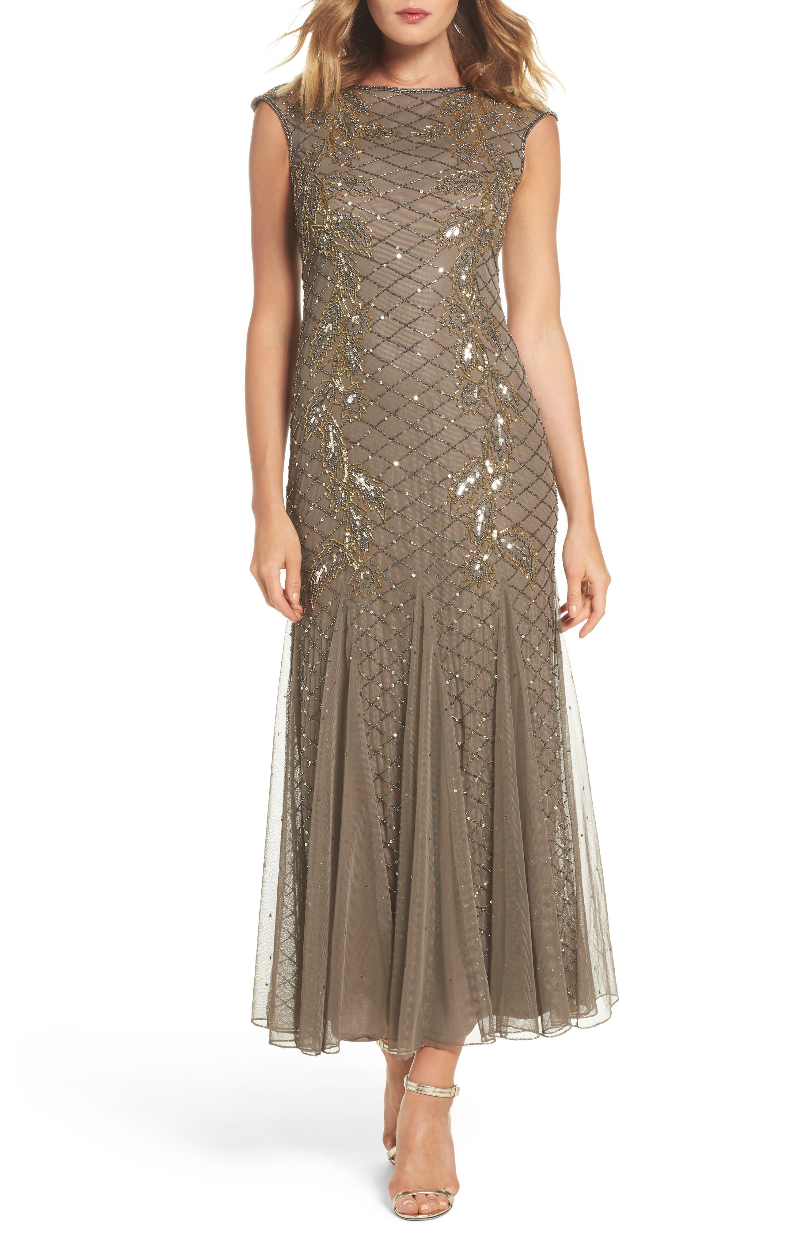 Flame Motif Embellished Gown,                             Main thumbnail 1, color,                             Mocha