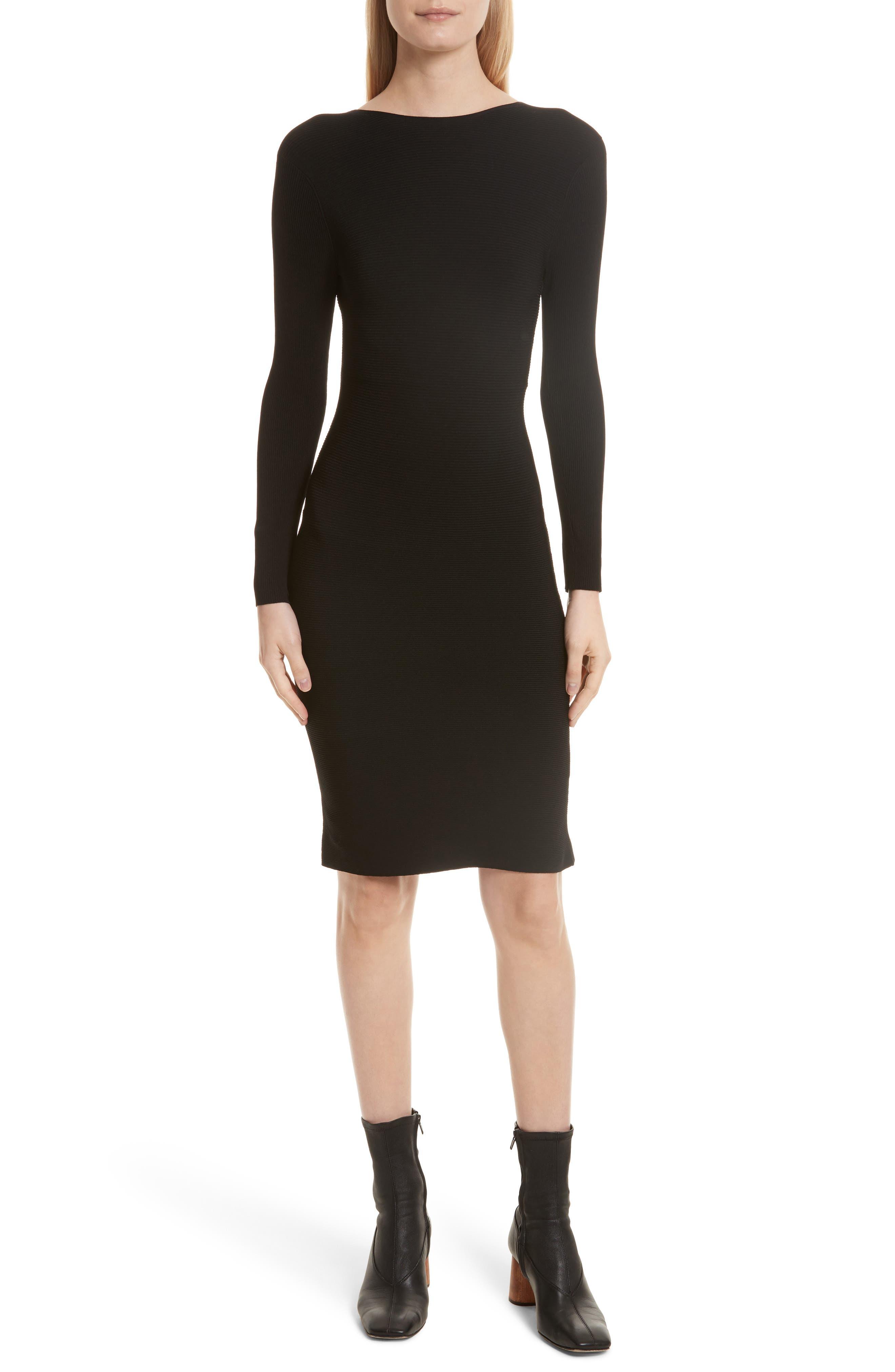 Technical Rib Open Back Dress,                             Main thumbnail 1, color,                             Black