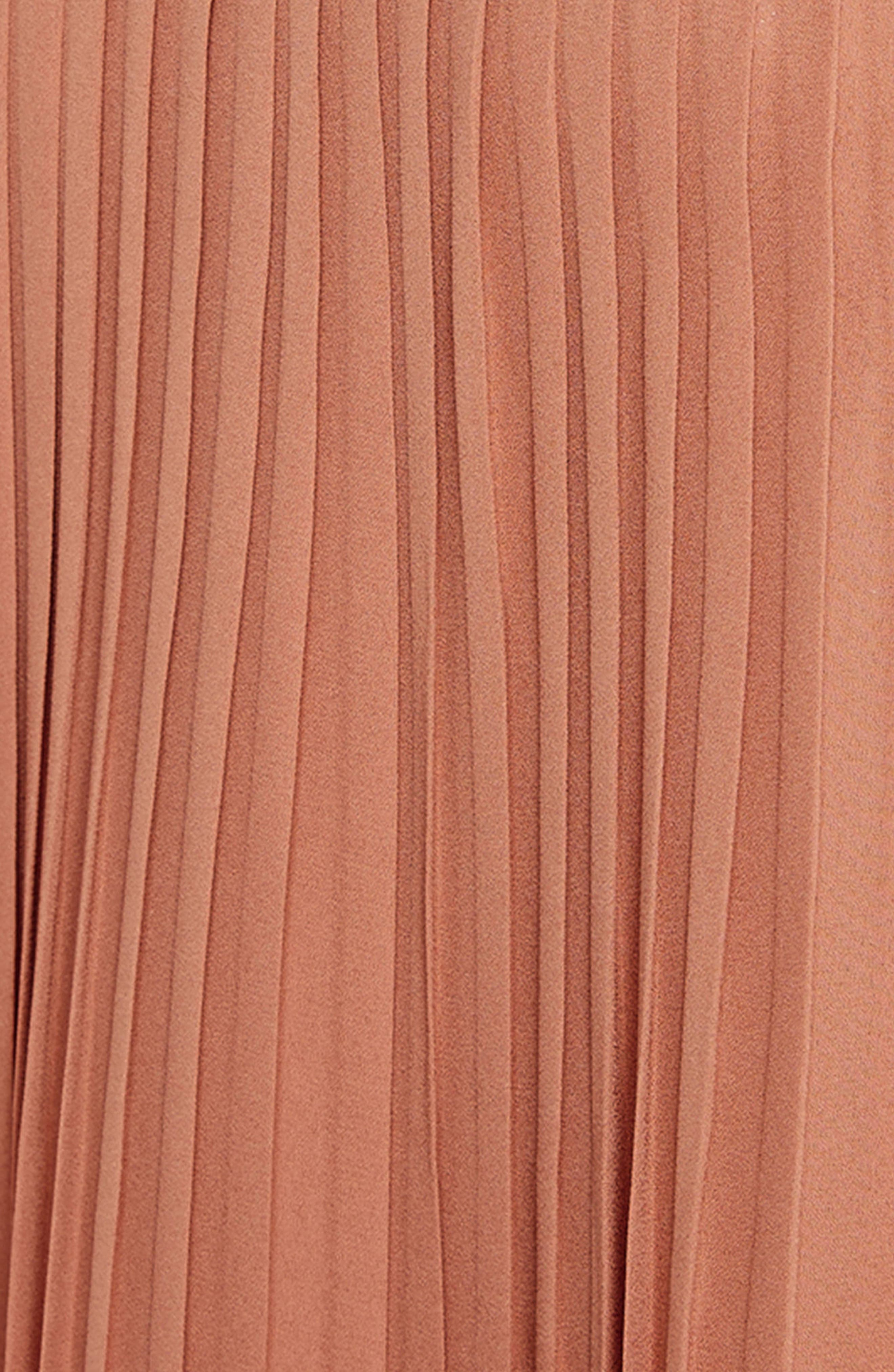 Pleated Swing Dress,                             Alternate thumbnail 4, color,                             Nude