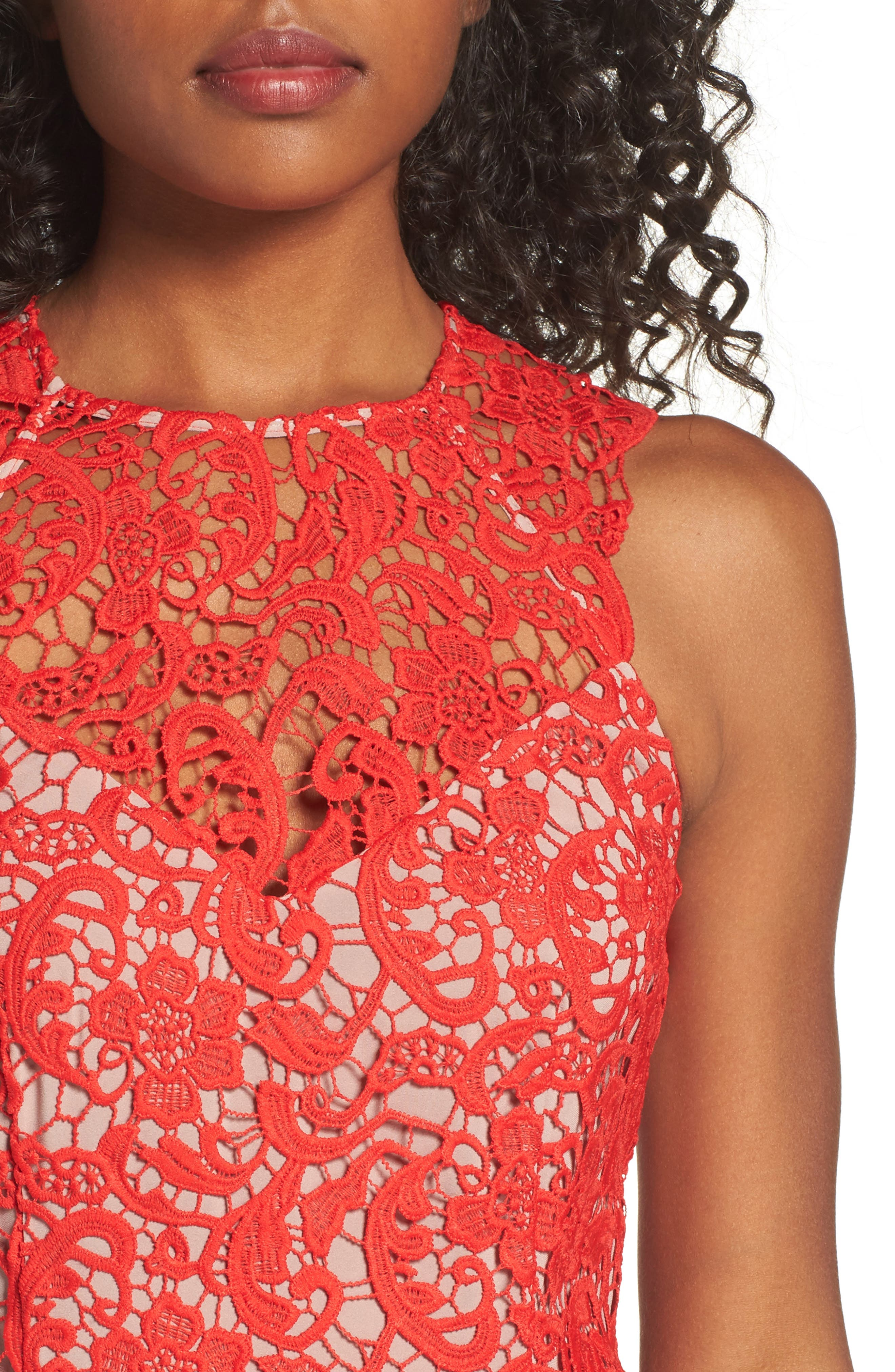 Lace Sheath Dress,                             Alternate thumbnail 4, color,                             Red Fiery