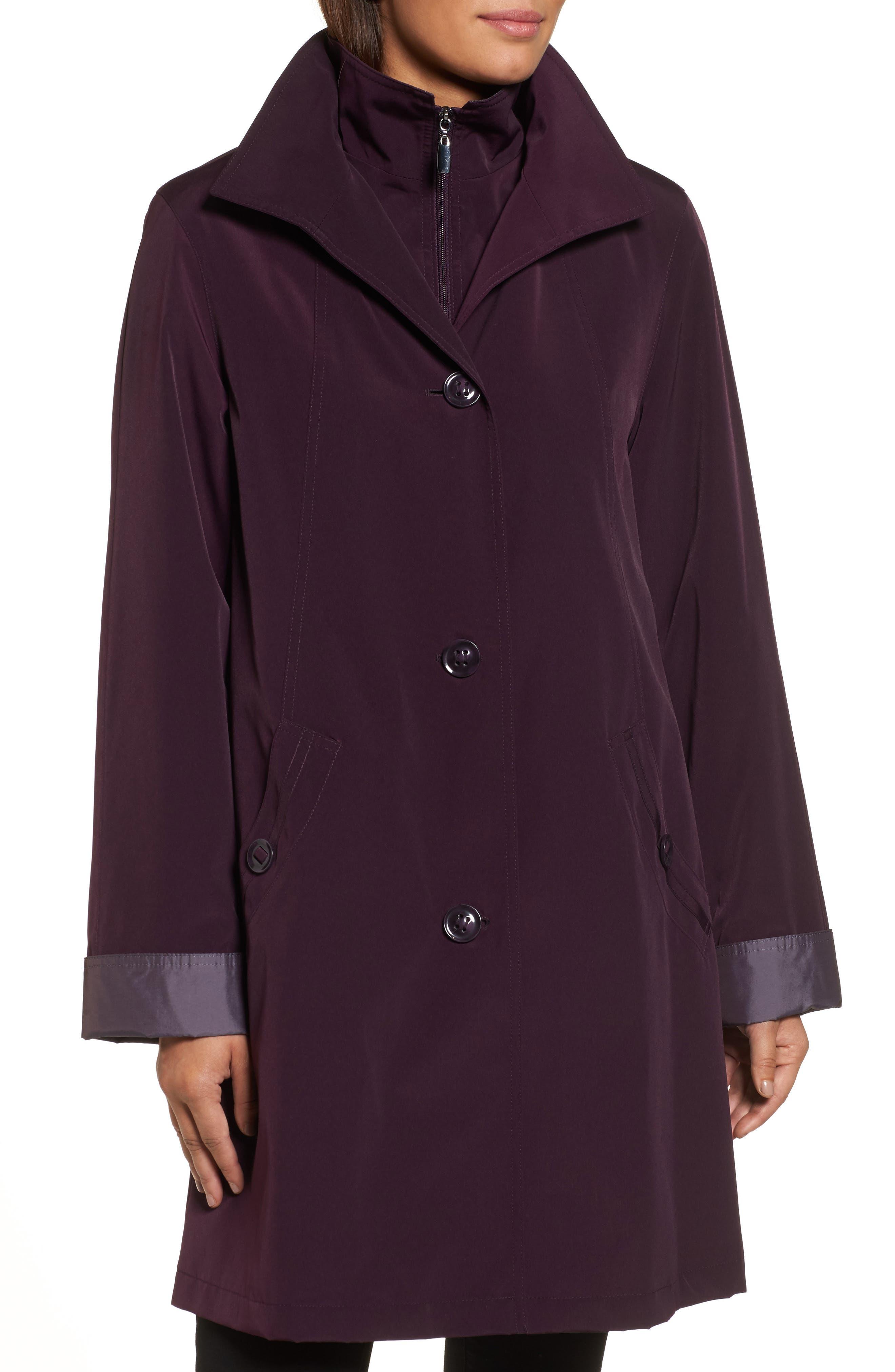A-Line Raincoat with Detachable Hood & Liner,                             Alternate thumbnail 4, color,                             Blackberry