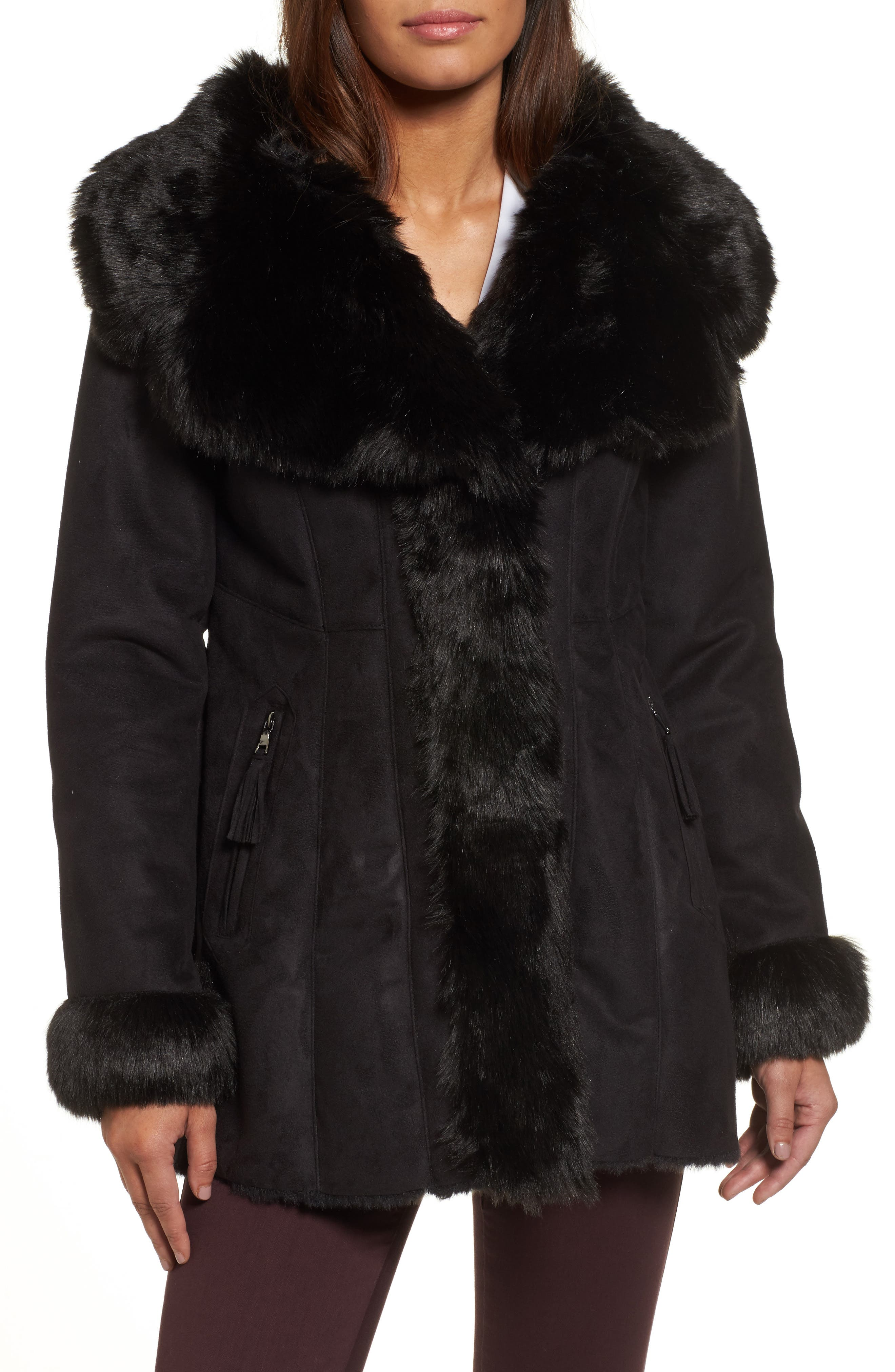 VIA SPIGA Faux Shearling Coat