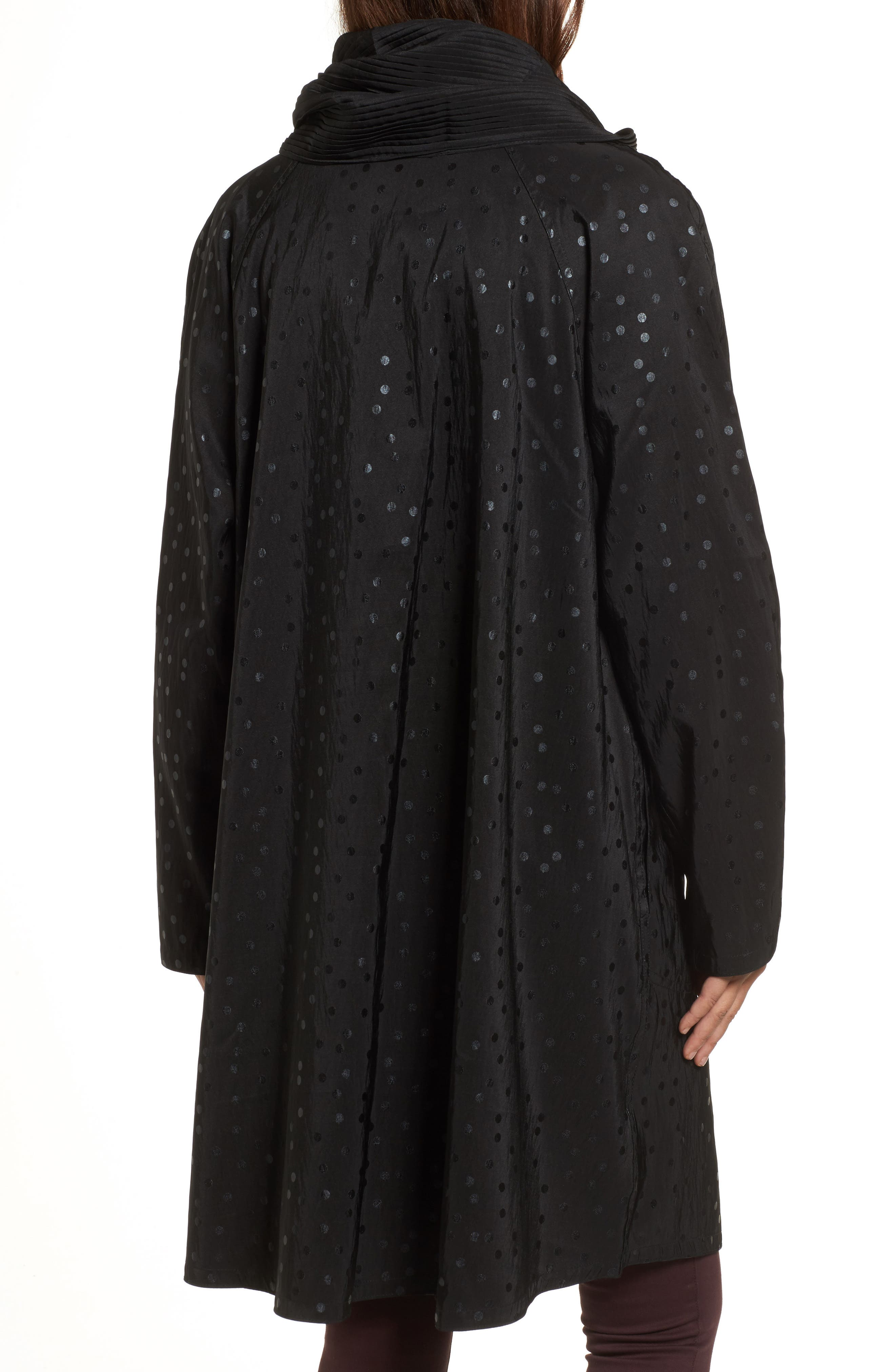 'Donatella' Reversible Dot Pleat Hood Packable Travel Coat,                             Alternate thumbnail 2, color,                             Black Dot