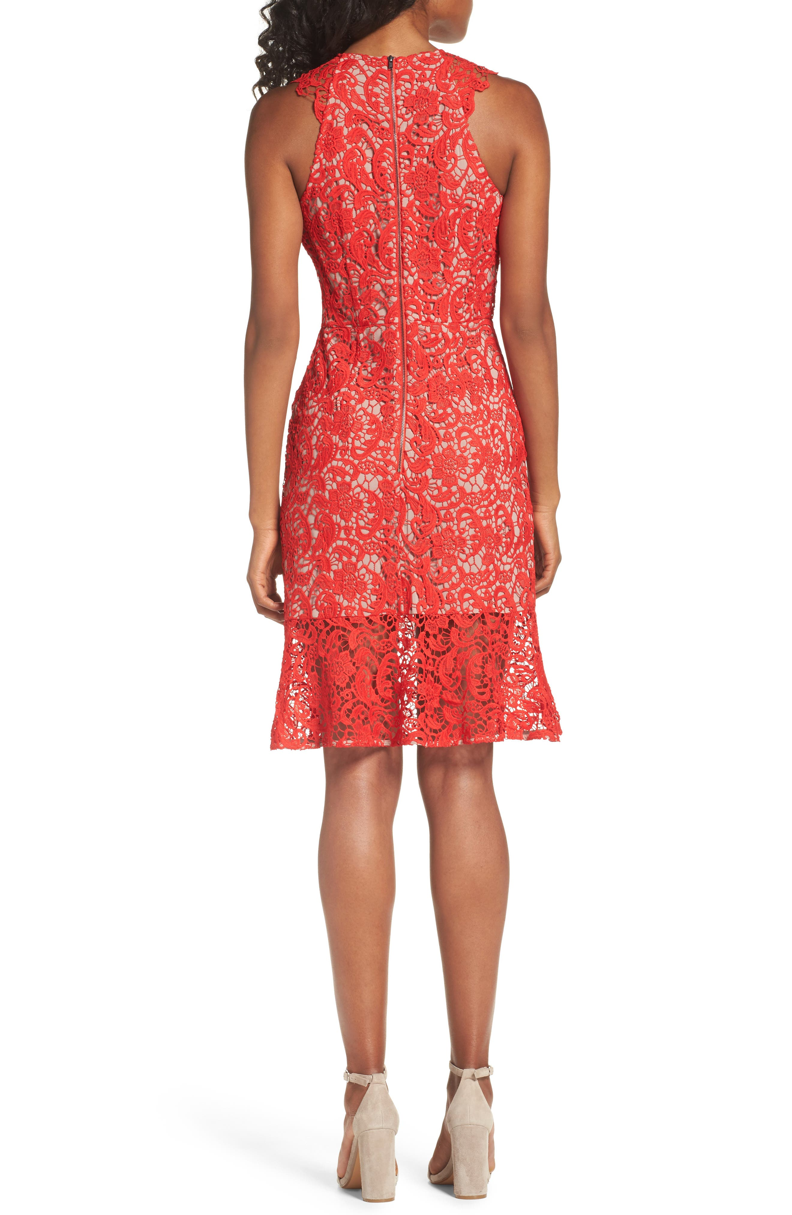 Lace Sheath Dress,                             Alternate thumbnail 2, color,                             Red Fiery