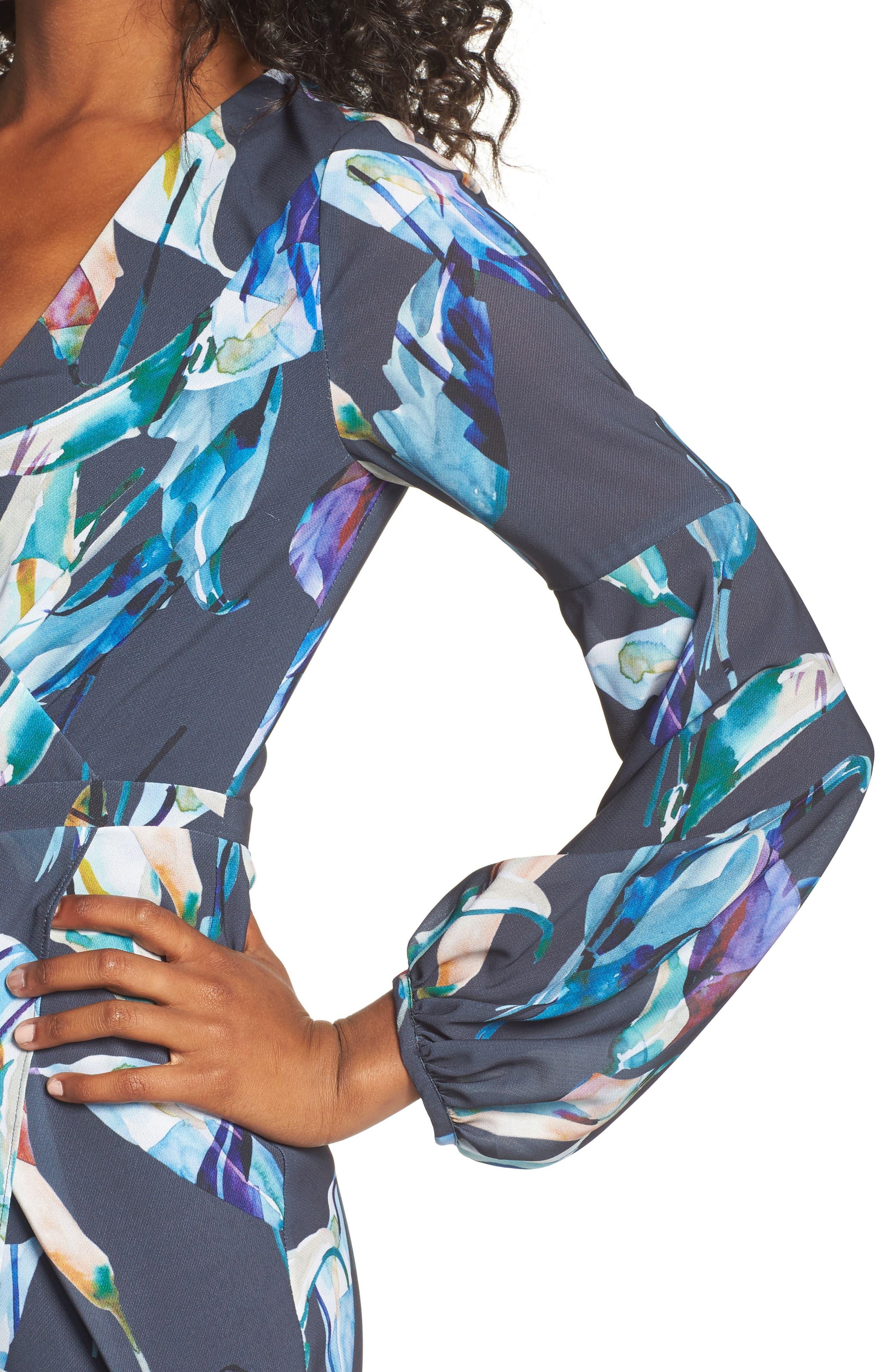 Romanticise Midi Dress,                             Alternate thumbnail 4, color,                             Black/ Aqua