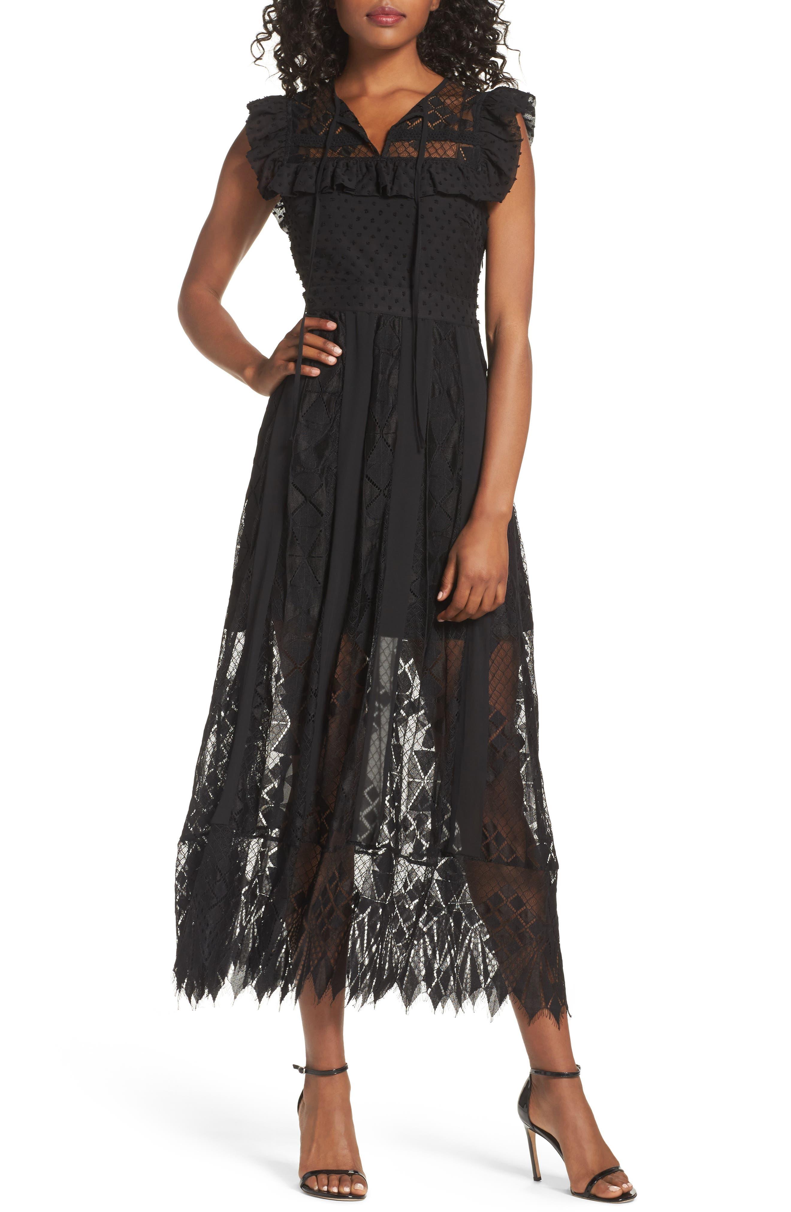 Main Image - Foxiedox Forence Lace & Swiss Dot Dress