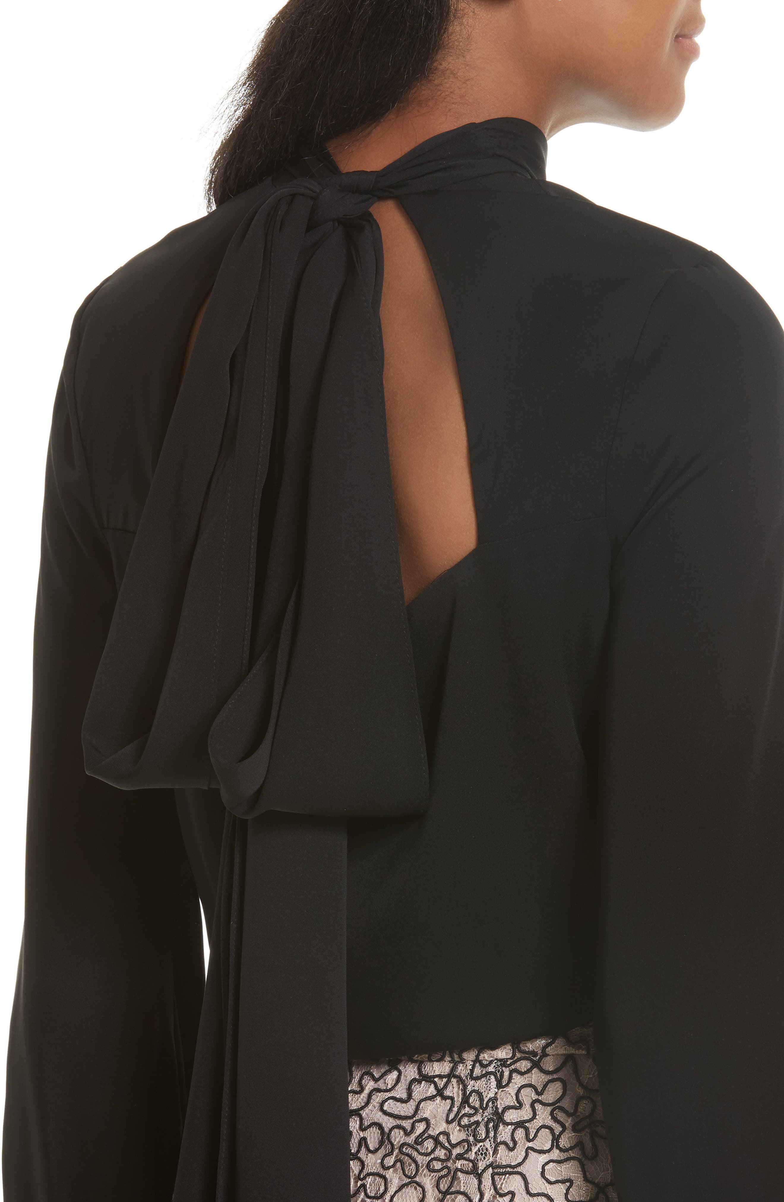 Alternate Image 4  - Milly Simona Tie Back Stretch Silk Blouse