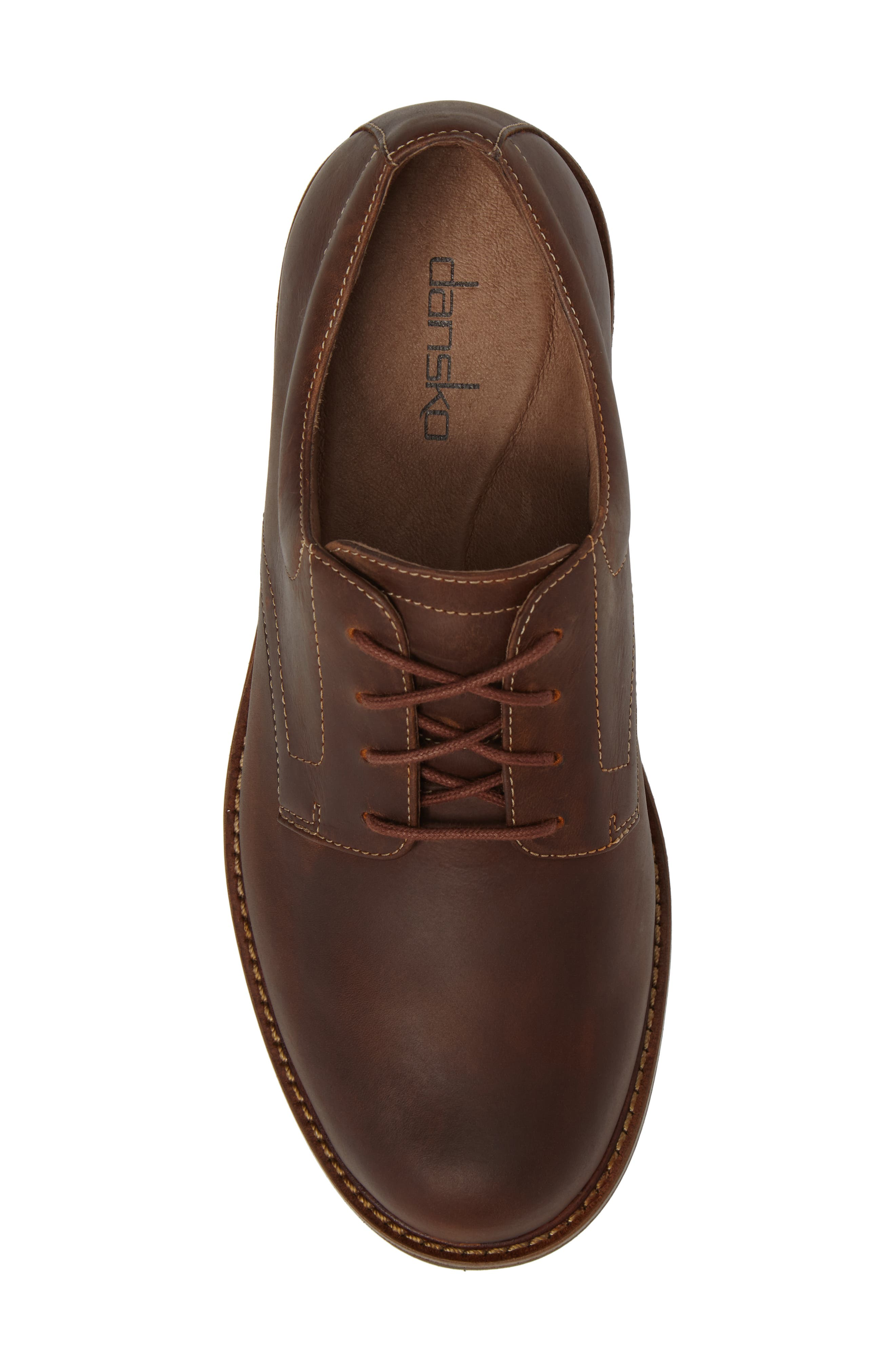 'Josh' Plain Toe Derby,                             Alternate thumbnail 5, color,                             Brown Pull-Up Leather