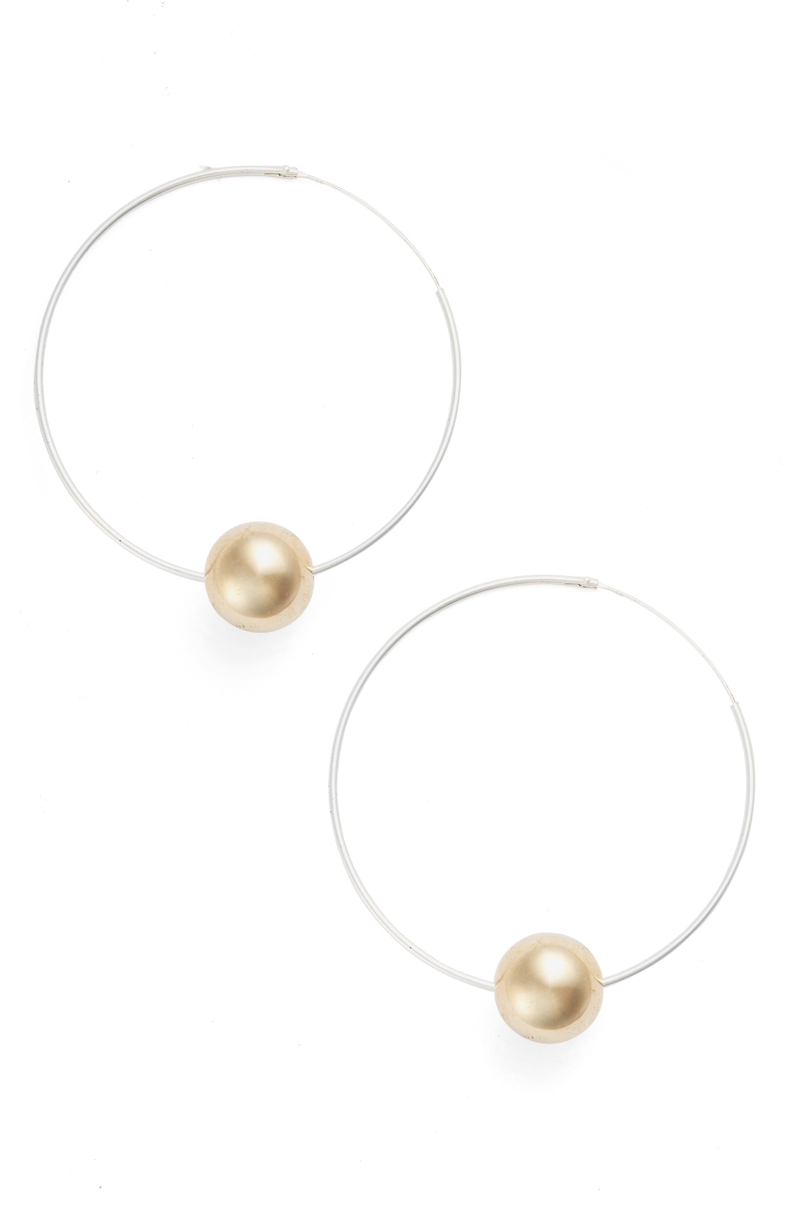 Main Image - Argento Vivo Sphere Station Hoop Earrings