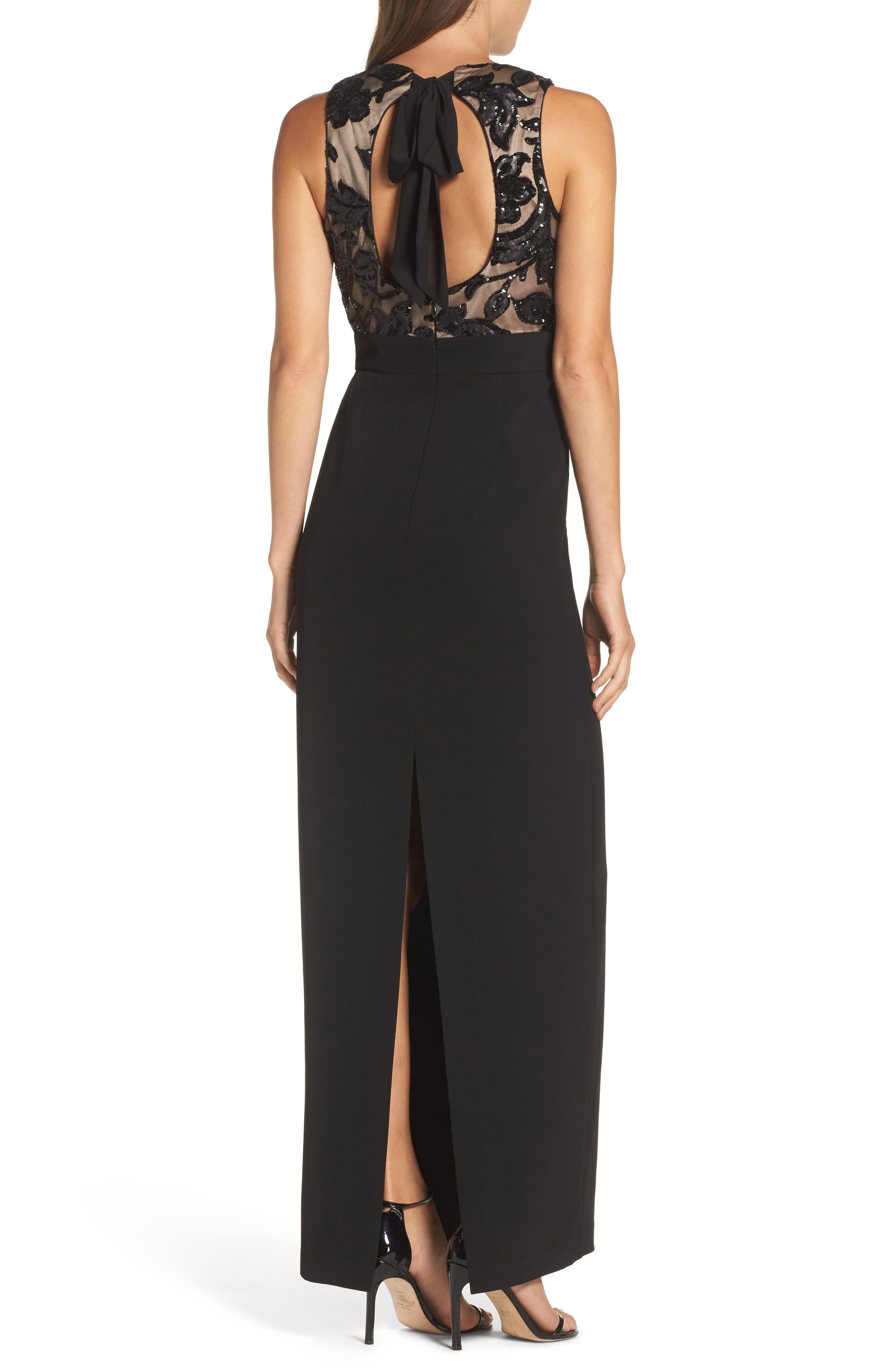 Alternate Image 2  - Vince Camuto Sequin Crepe Column Gown