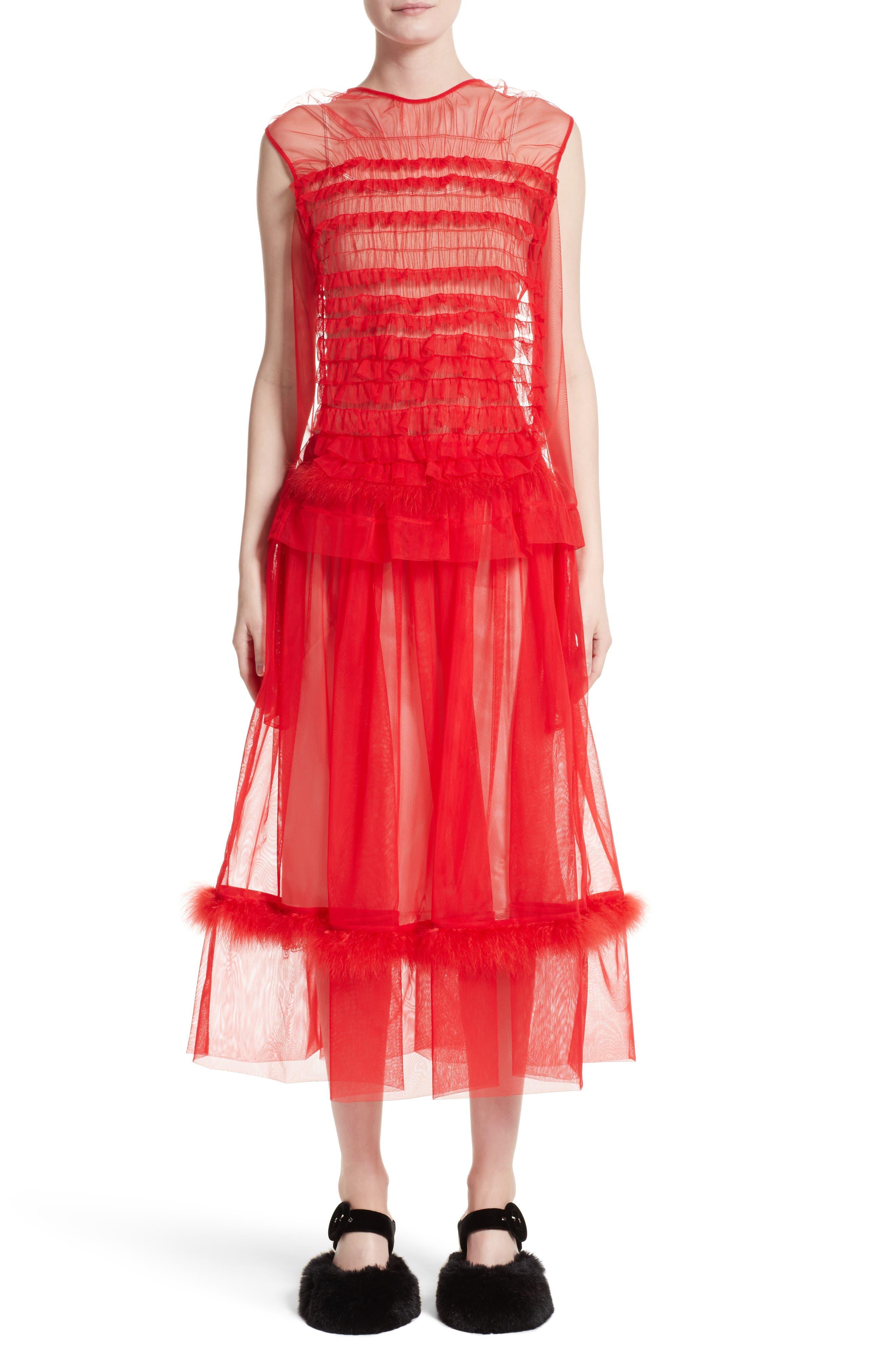 Marabou Trim Smock Waist Tulle Skirt,                             Alternate thumbnail 6, color,                             Red