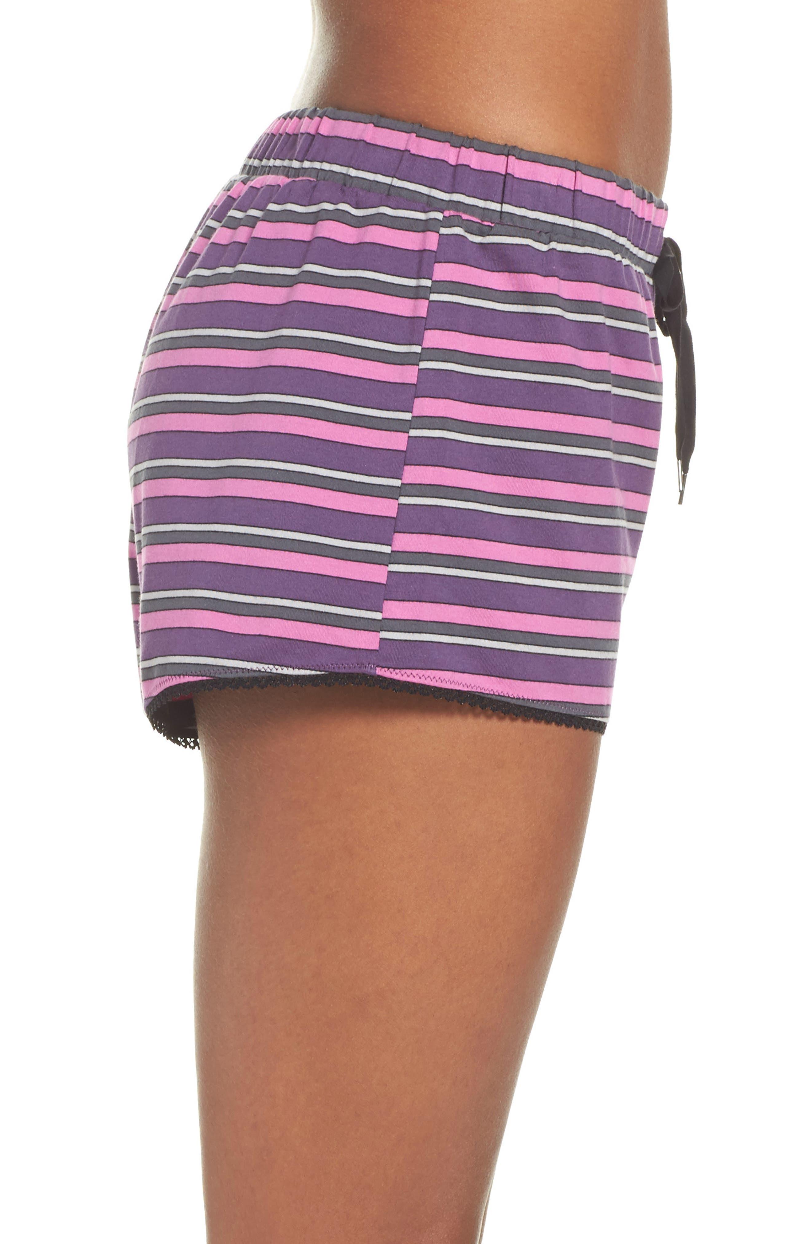 Pajama Shorts,                             Alternate thumbnail 3, color,                             Currant Stripe