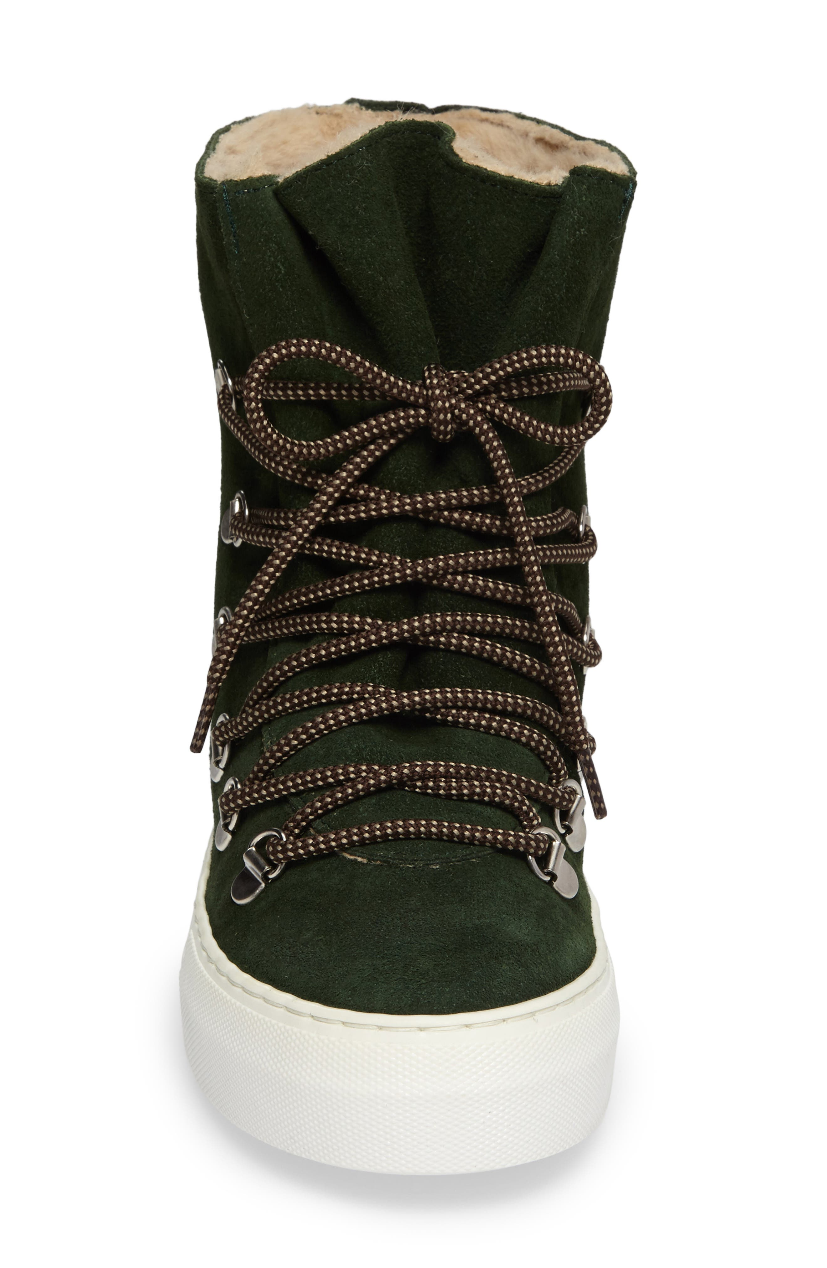 Cimone High Top Sneaker,                             Alternate thumbnail 4, color,                             Green Suede