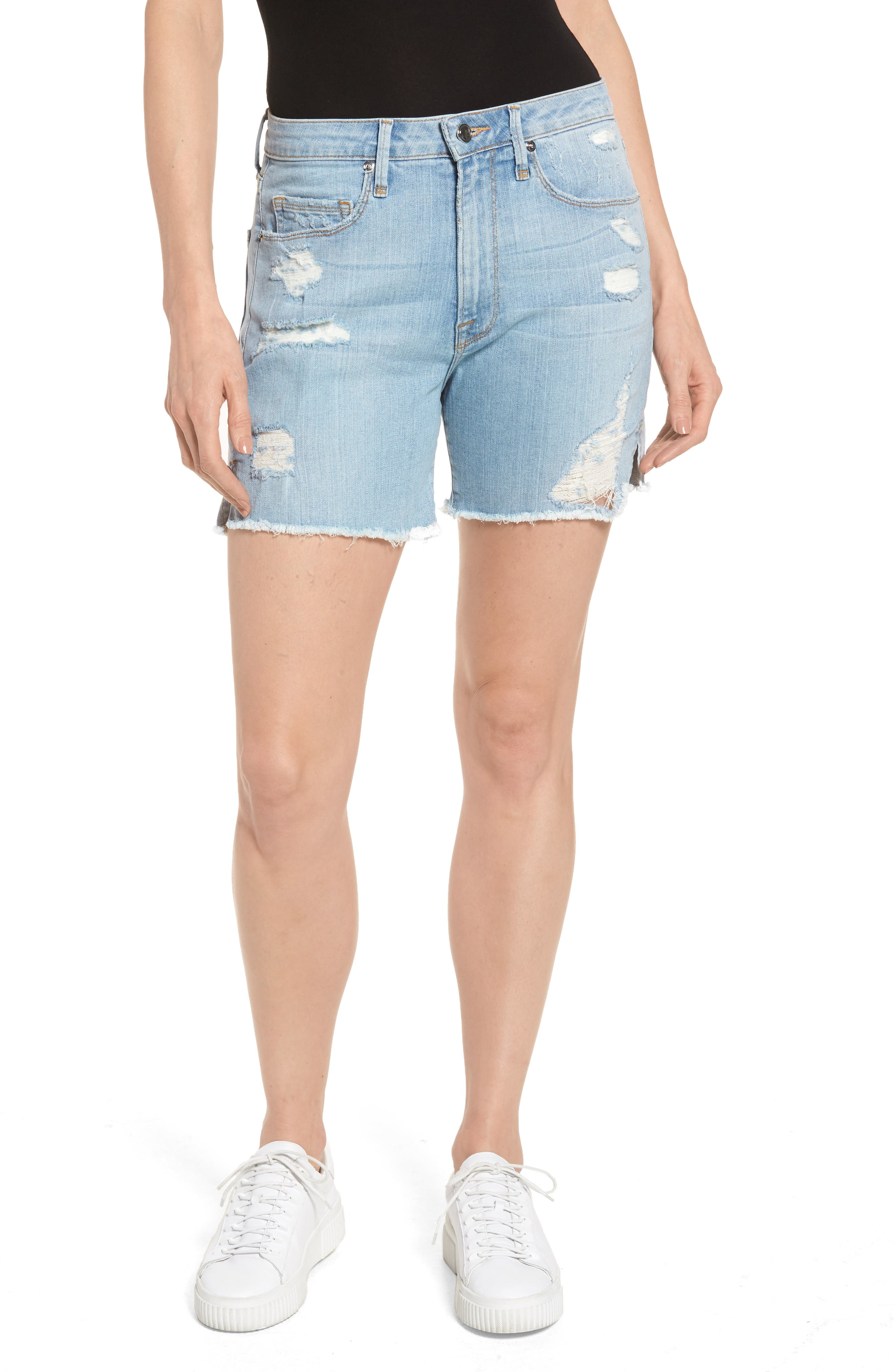Good American High Waist Cutoff Denim Shorts (Blue 059) (Extended Sizes)