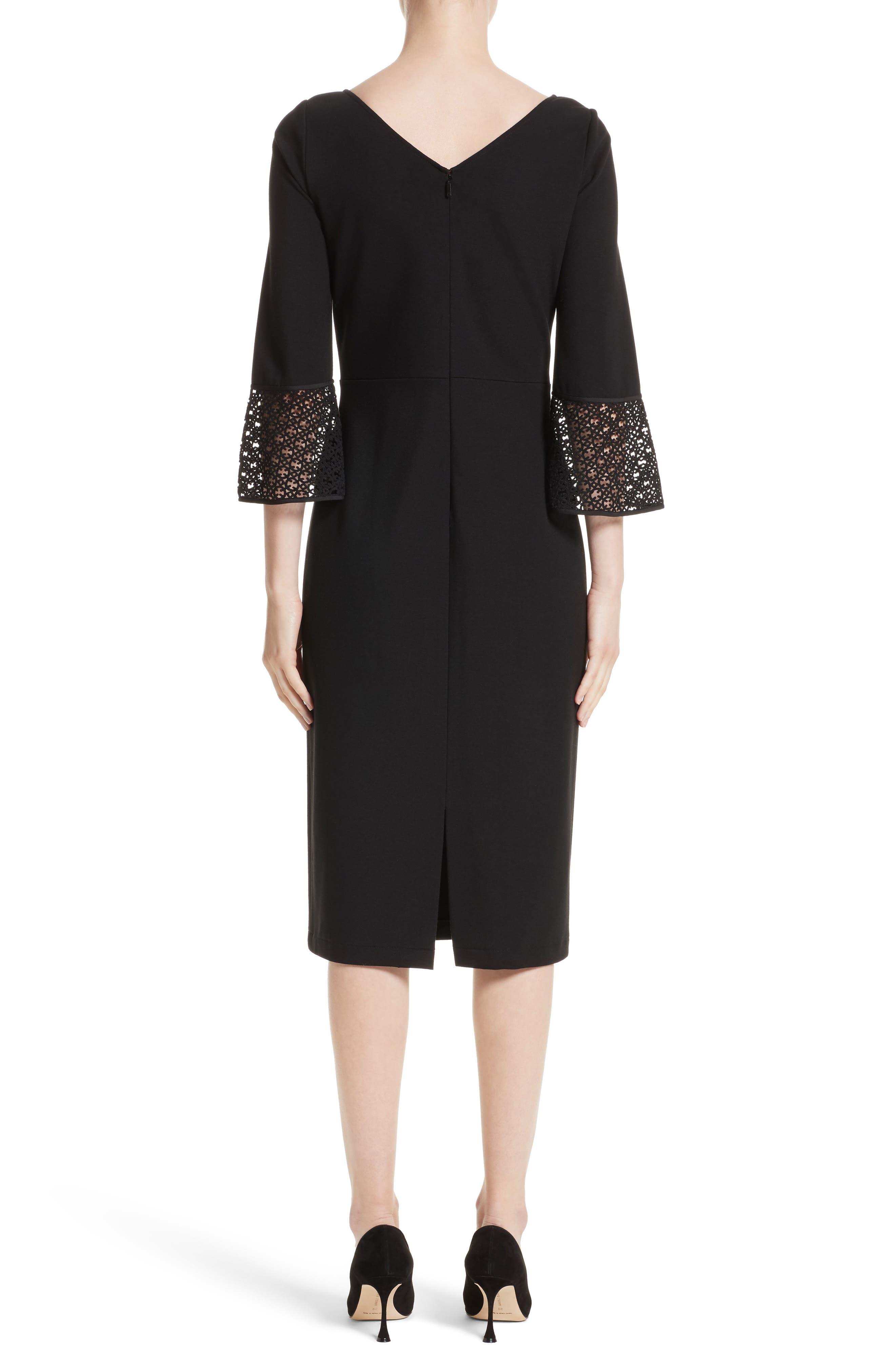Lace Trim Sheath Dress,                             Alternate thumbnail 2, color,                             Black