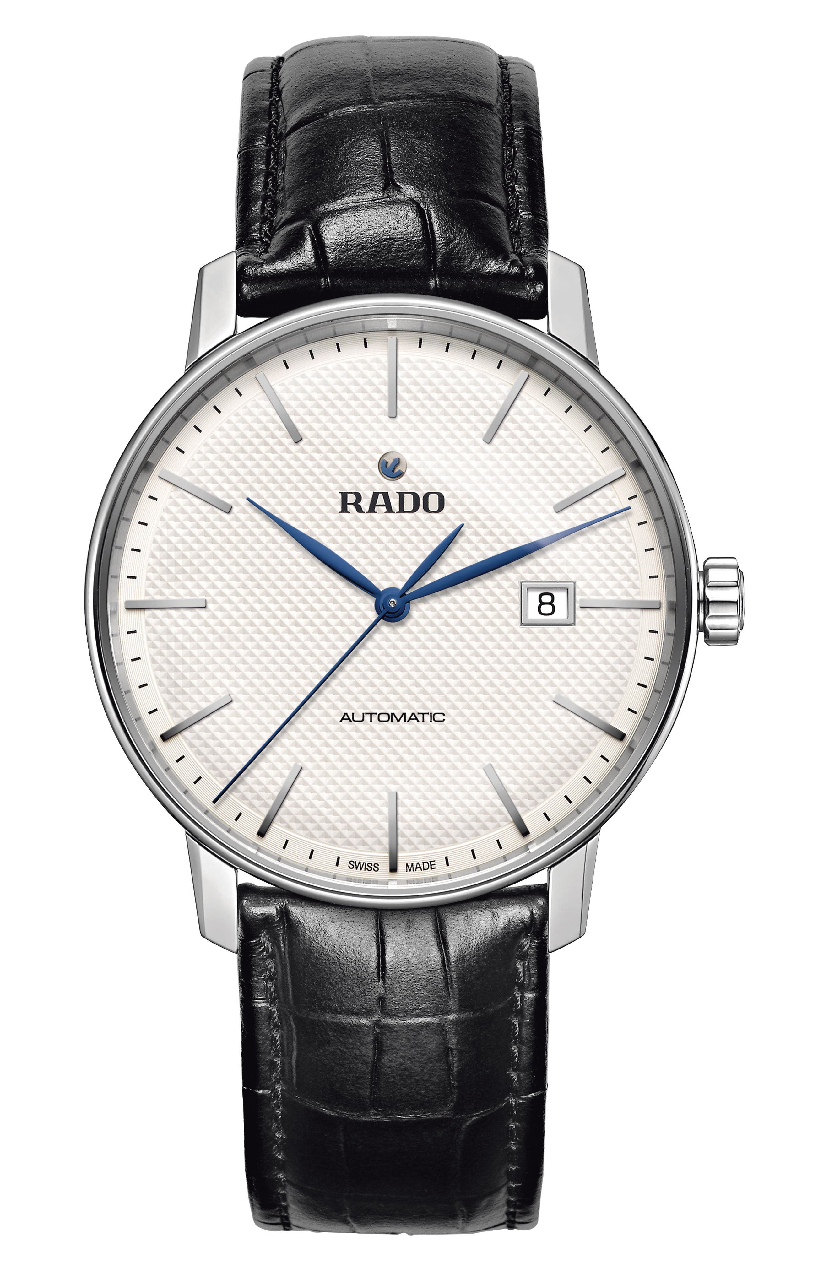 Main Image - RADO Coupole Classic Automatic Embossed Leather Strap Watch, 41mm
