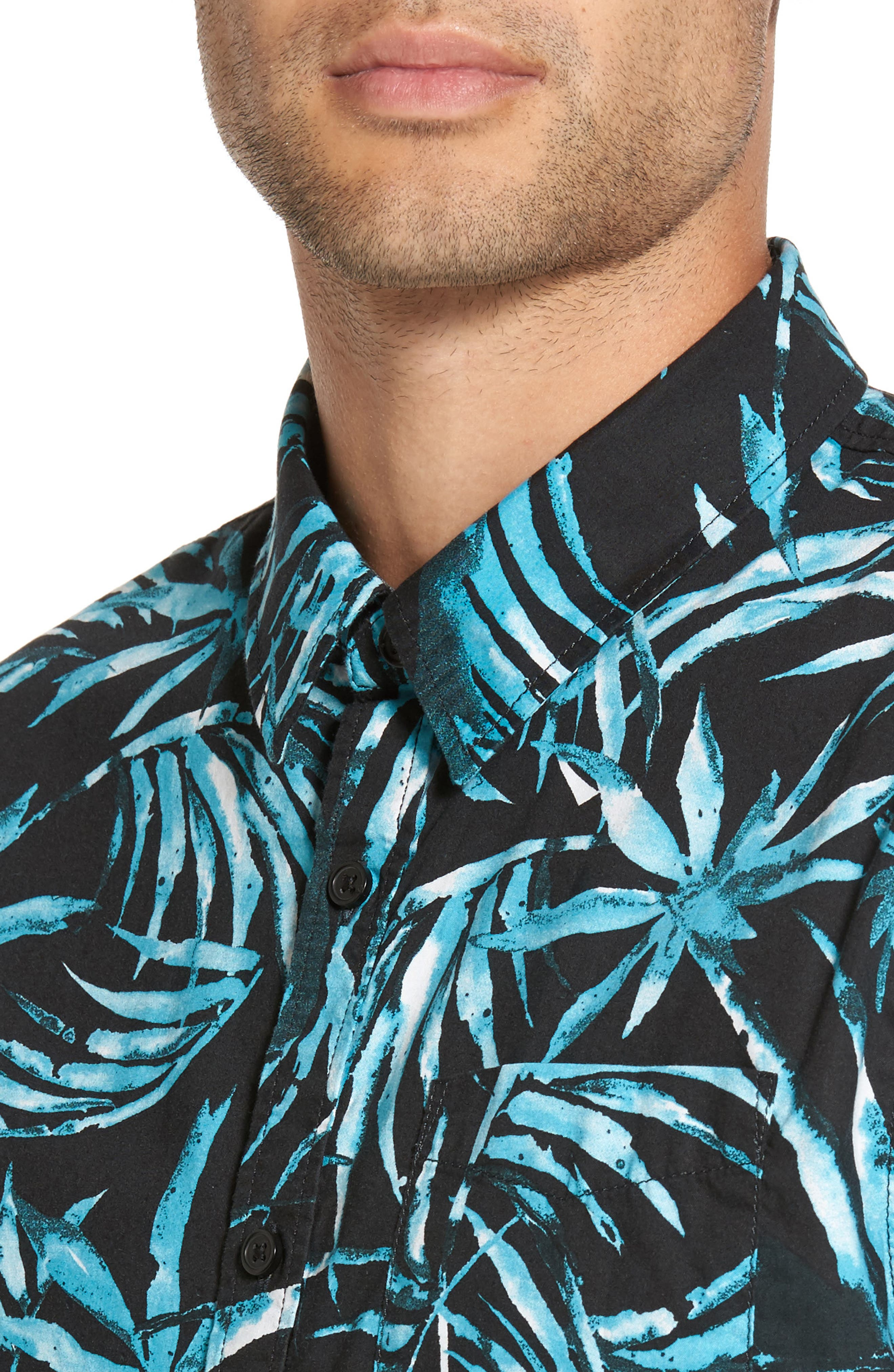 Del Playa Palm Print Woven Shirt,                             Alternate thumbnail 4, color,                             Black Water Palm