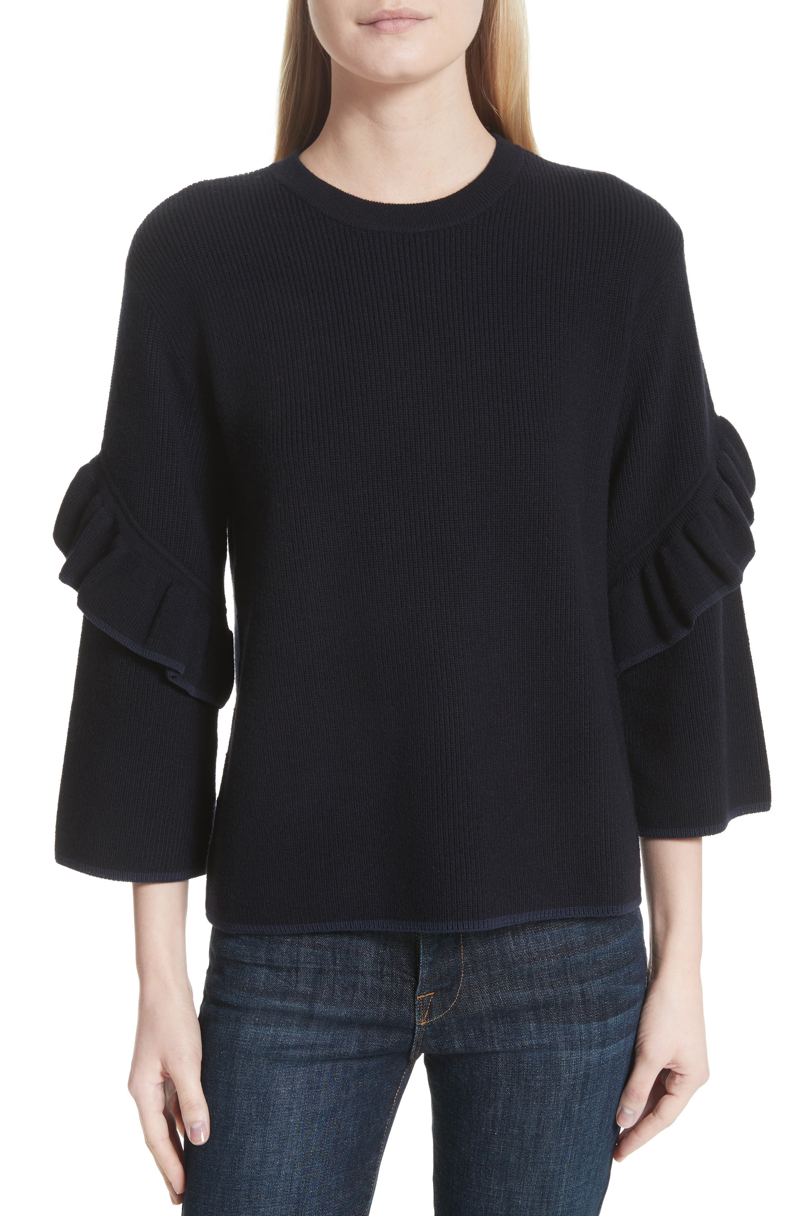 Ashley Ruffle Bell Sleeve Sweater,                         Main,                         color, Tory Navy