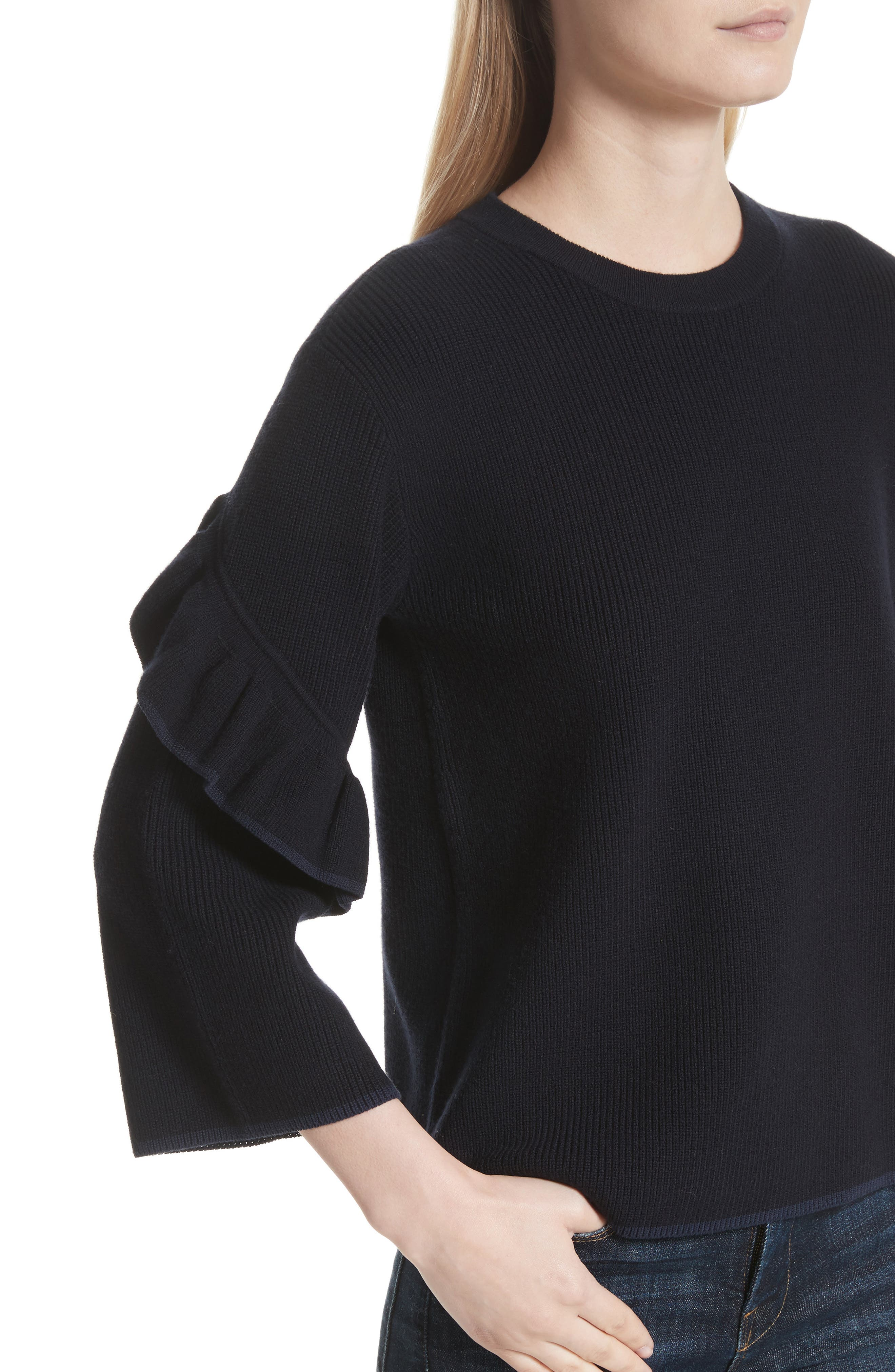 Ashley Ruffle Bell Sleeve Sweater,                             Alternate thumbnail 4, color,                             Tory Navy