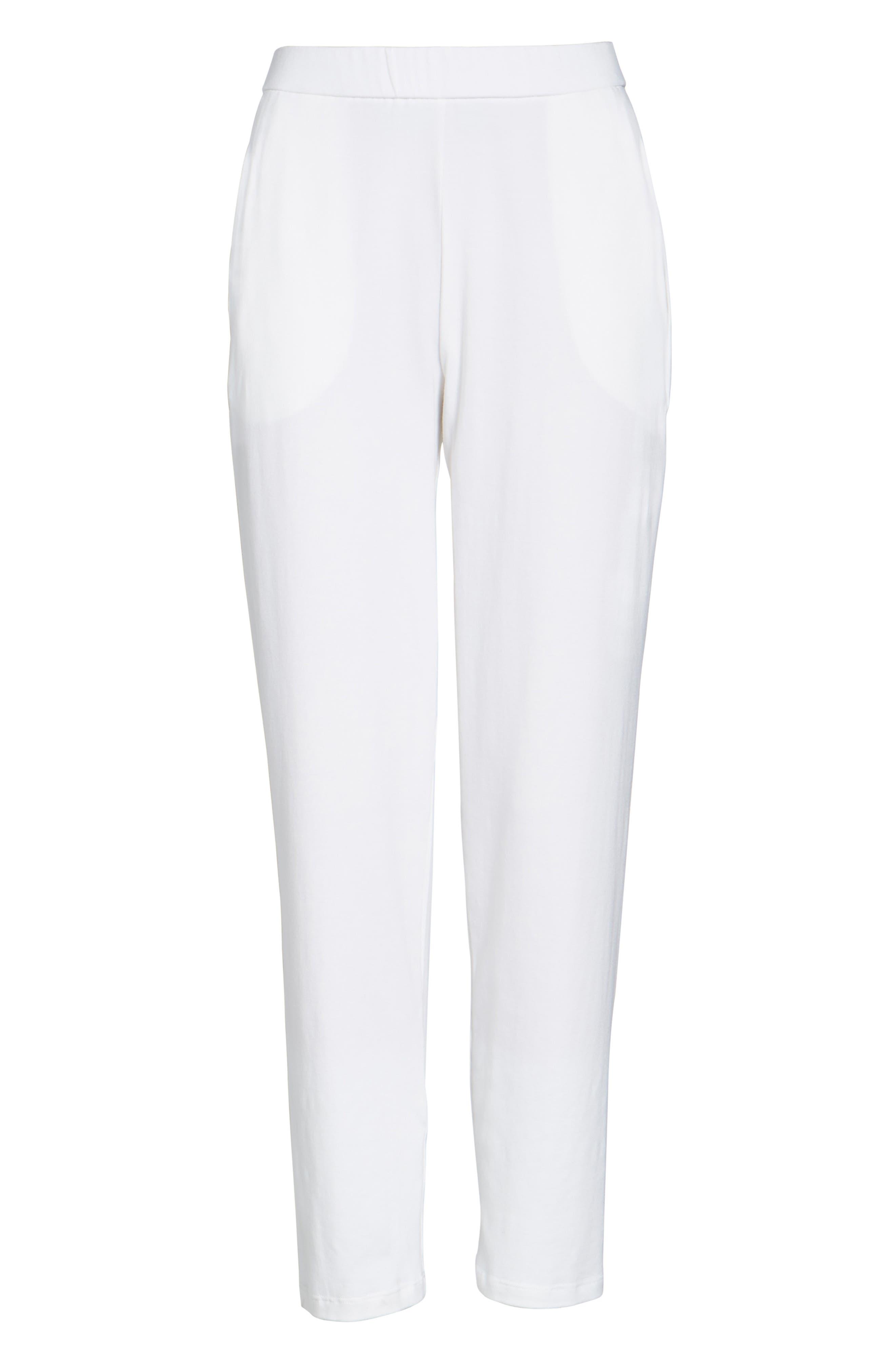 Stretch Organic Cotton Slim Slouchy Ankle Pants,                             Main thumbnail 1, color,                             White