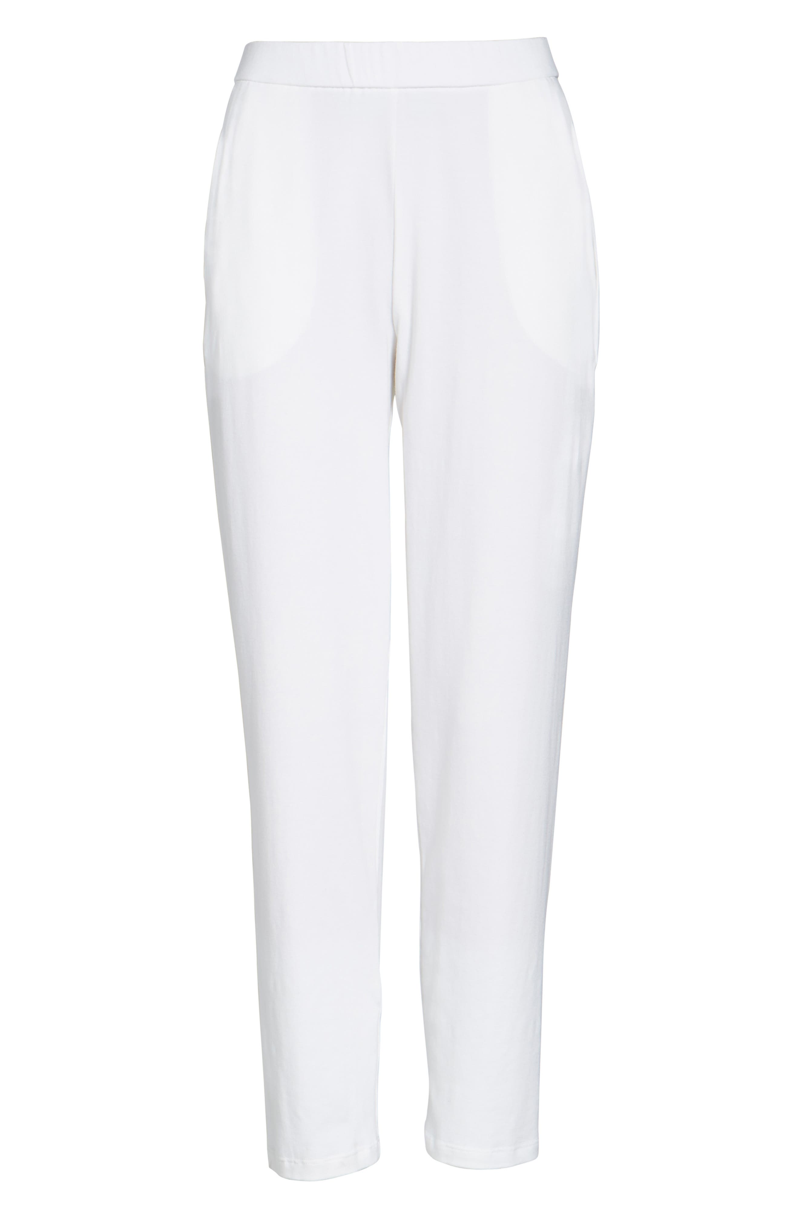 Stretch Organic Cotton Slim Slouchy Ankle Pants,                         Main,                         color, White