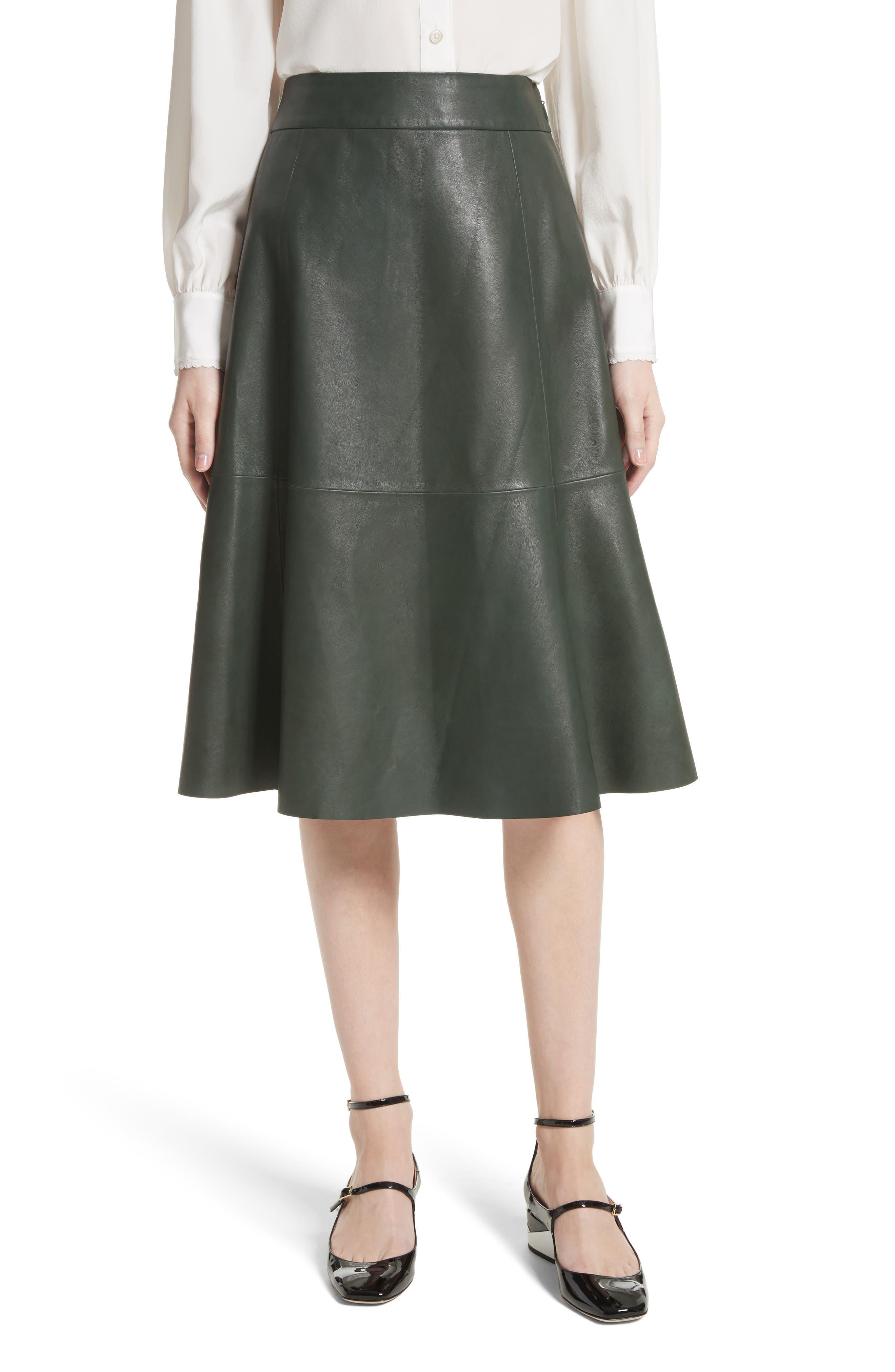 kate spade new york allyson leather flare skirt