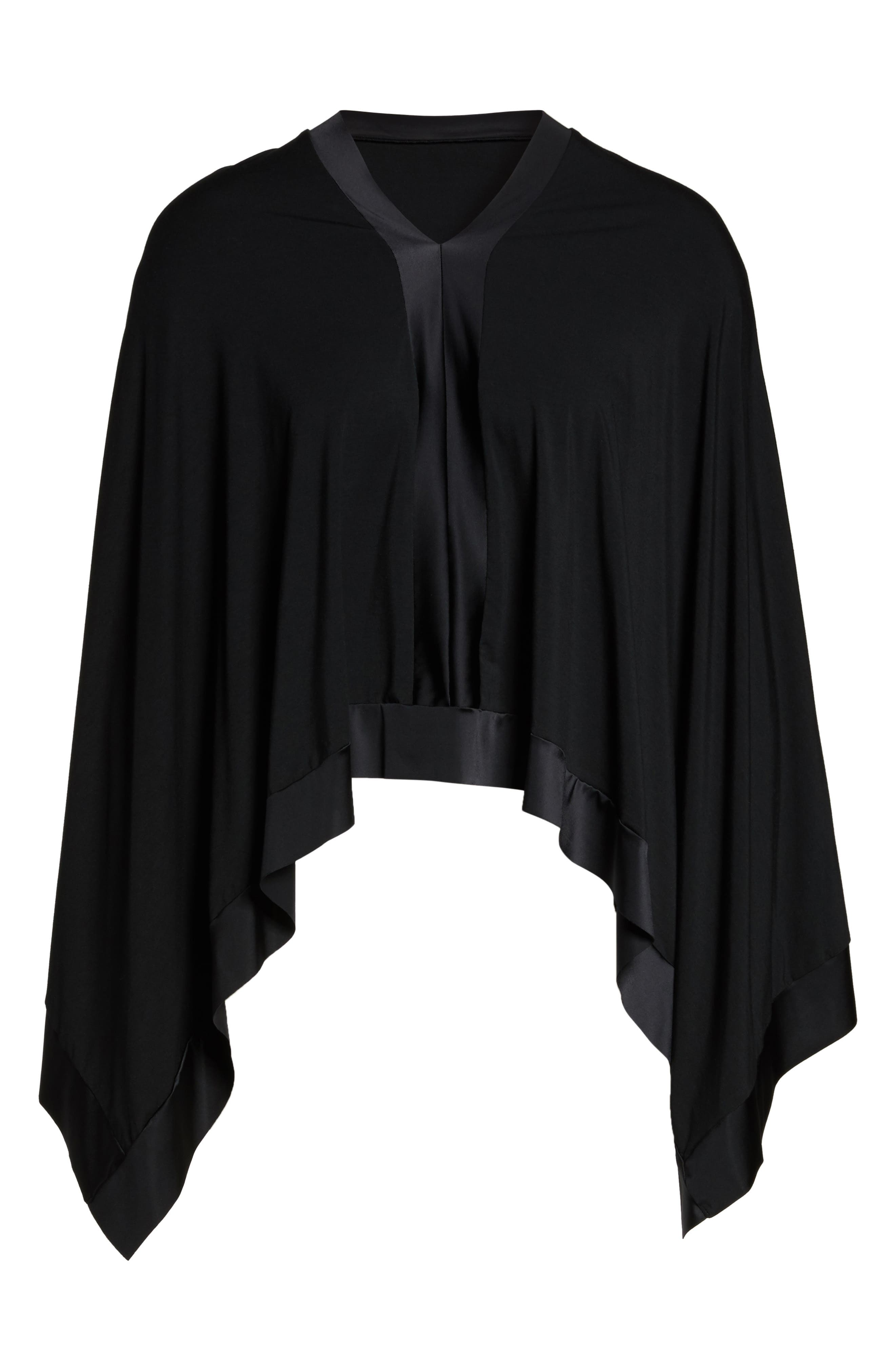 Butter & Satin Asymmetrical Poncho,                             Alternate thumbnail 4, color,                             Midnight