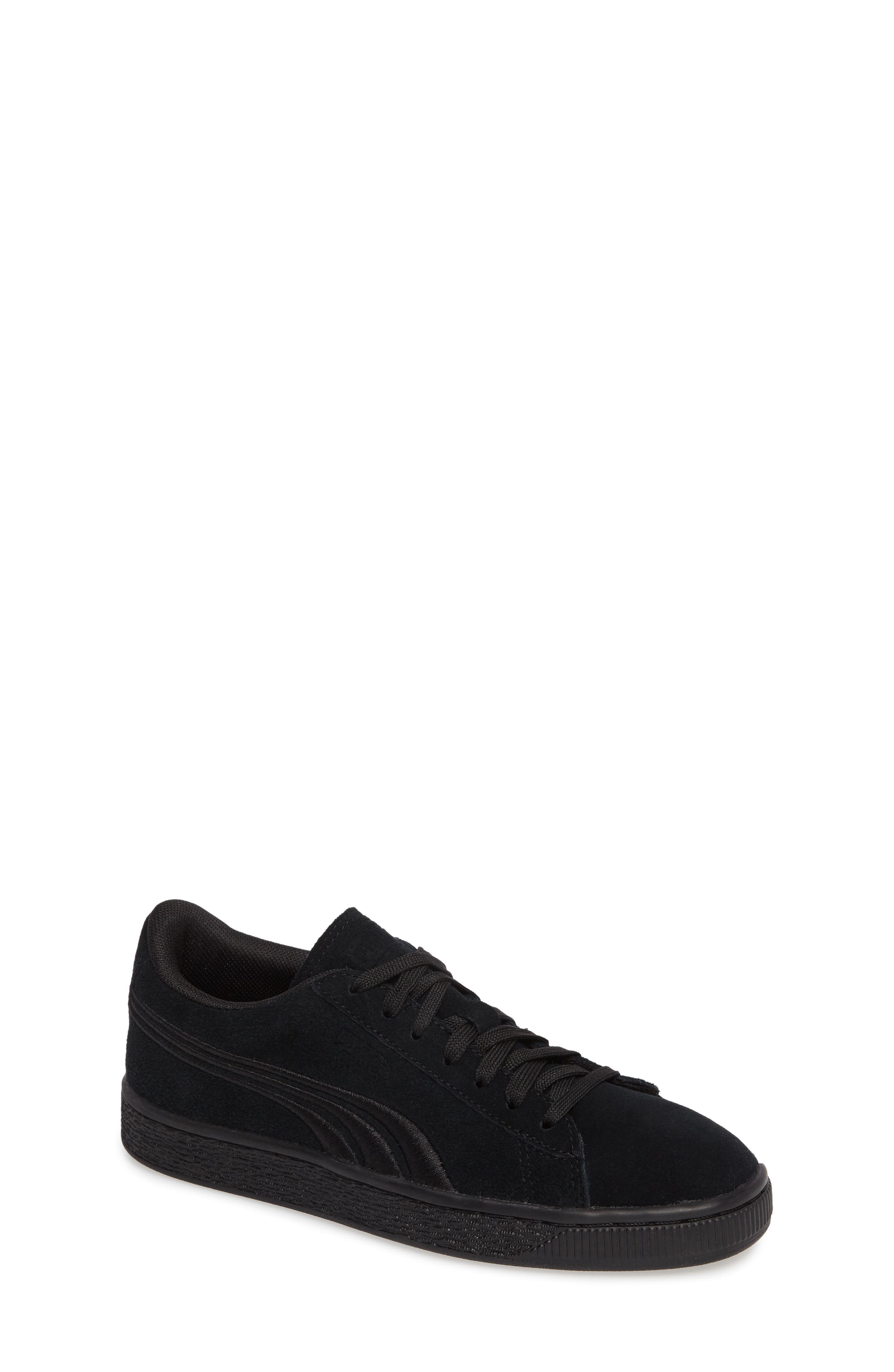Suede Classic Badge Jr. Sneaker,                             Main thumbnail 1, color,                             Black/ Black