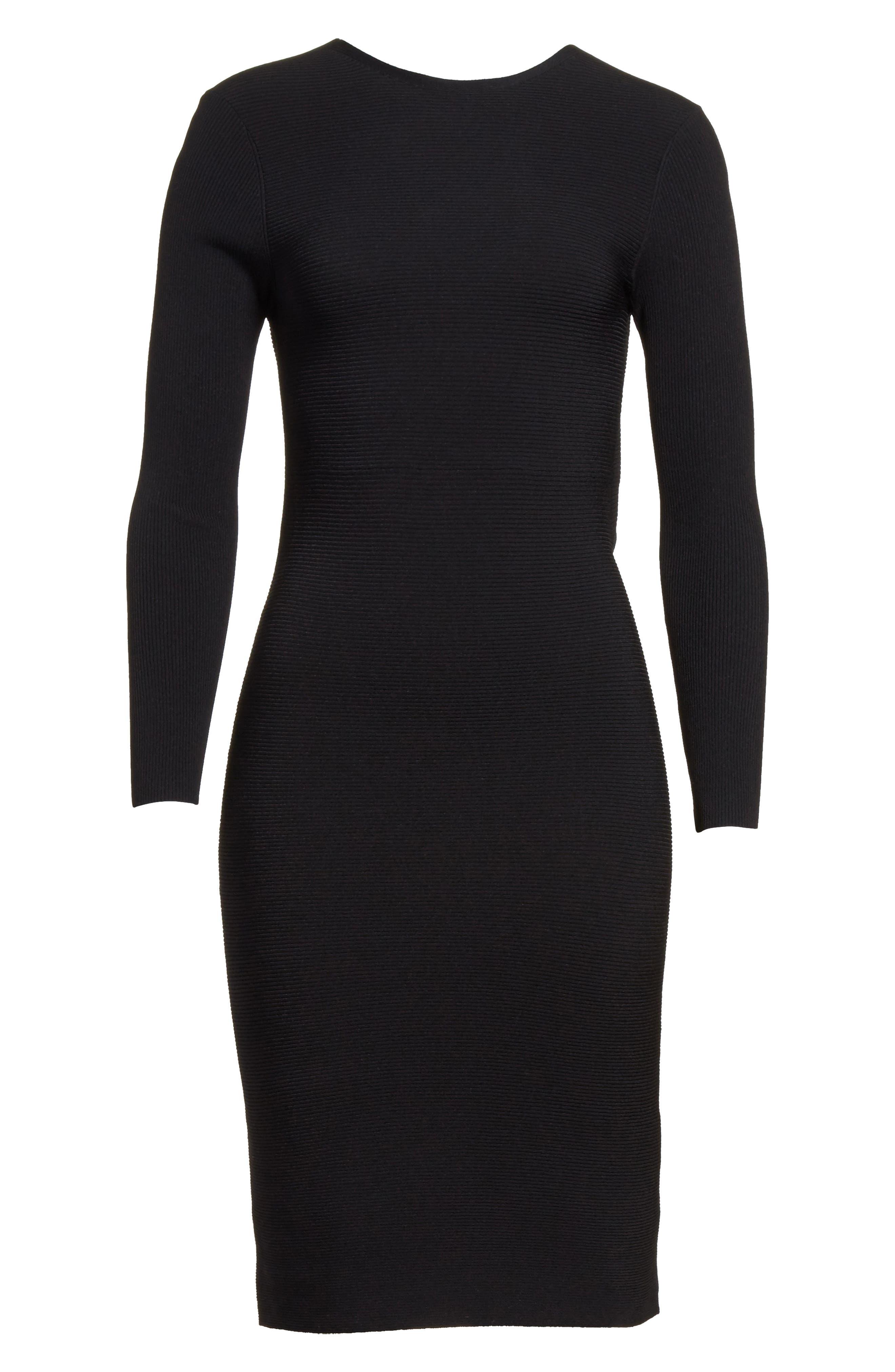 Technical Rib Open Back Dress,                             Alternate thumbnail 6, color,                             Black