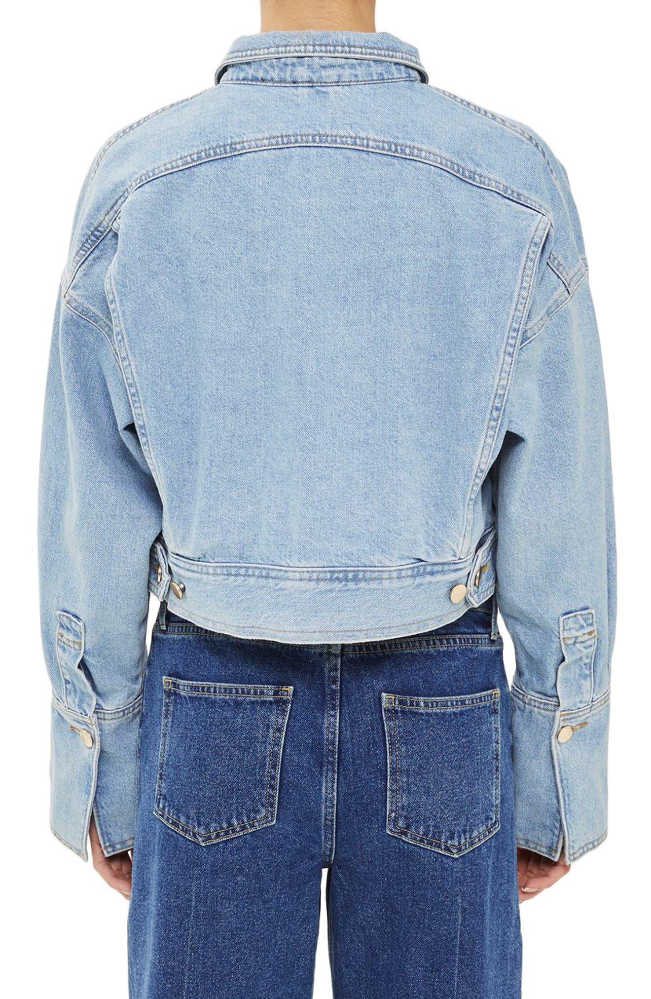 Alternate Image 2  - Topshop Boutique Crop Denim Jacket