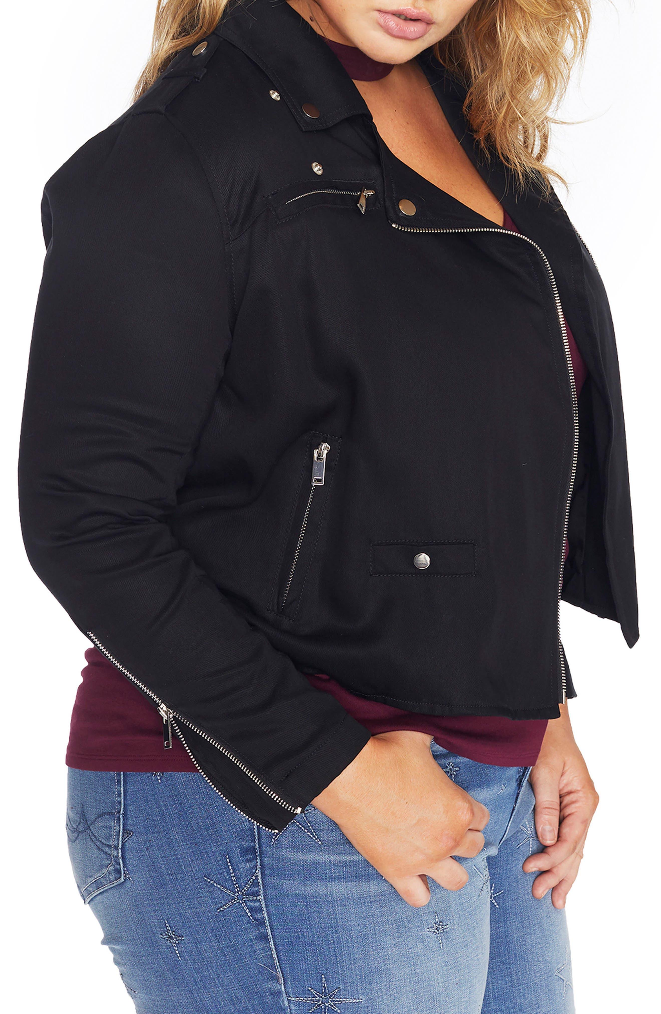 Alternate Image 5  - REBEL WILSON X ANGELS Lyocell Moto Jacket (Plus Size)