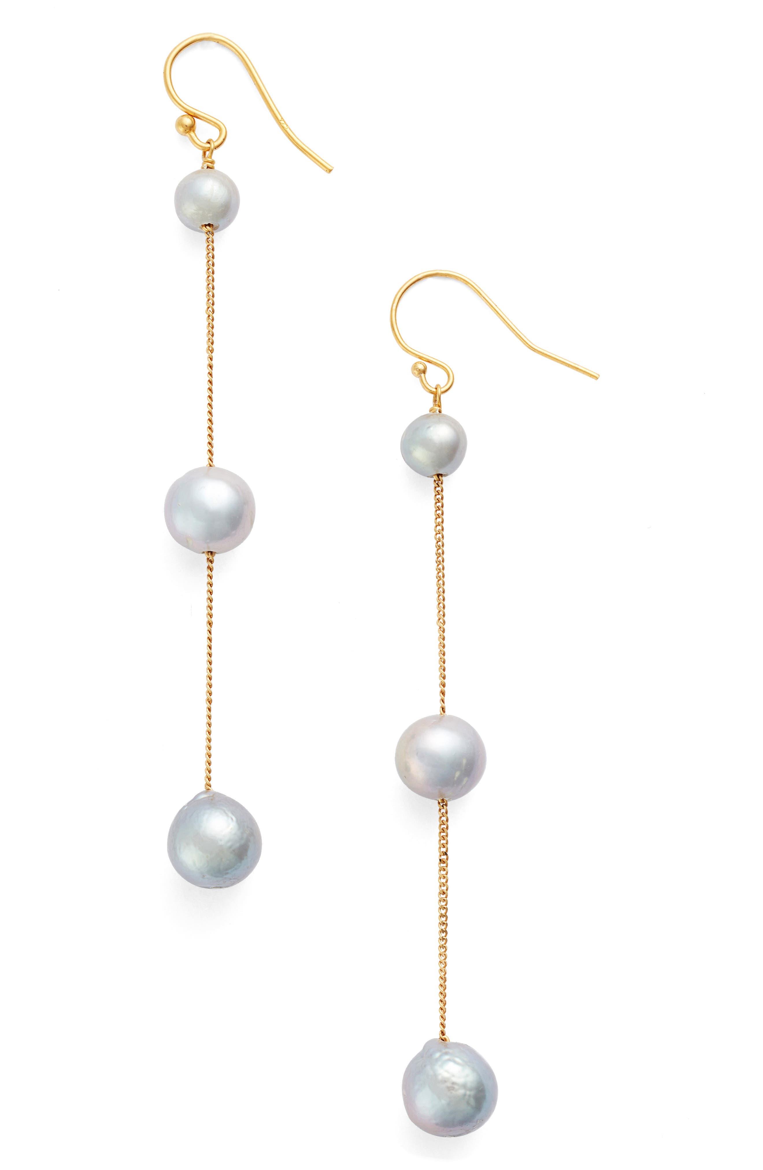 Chan Luu Pearl Linear Earrings