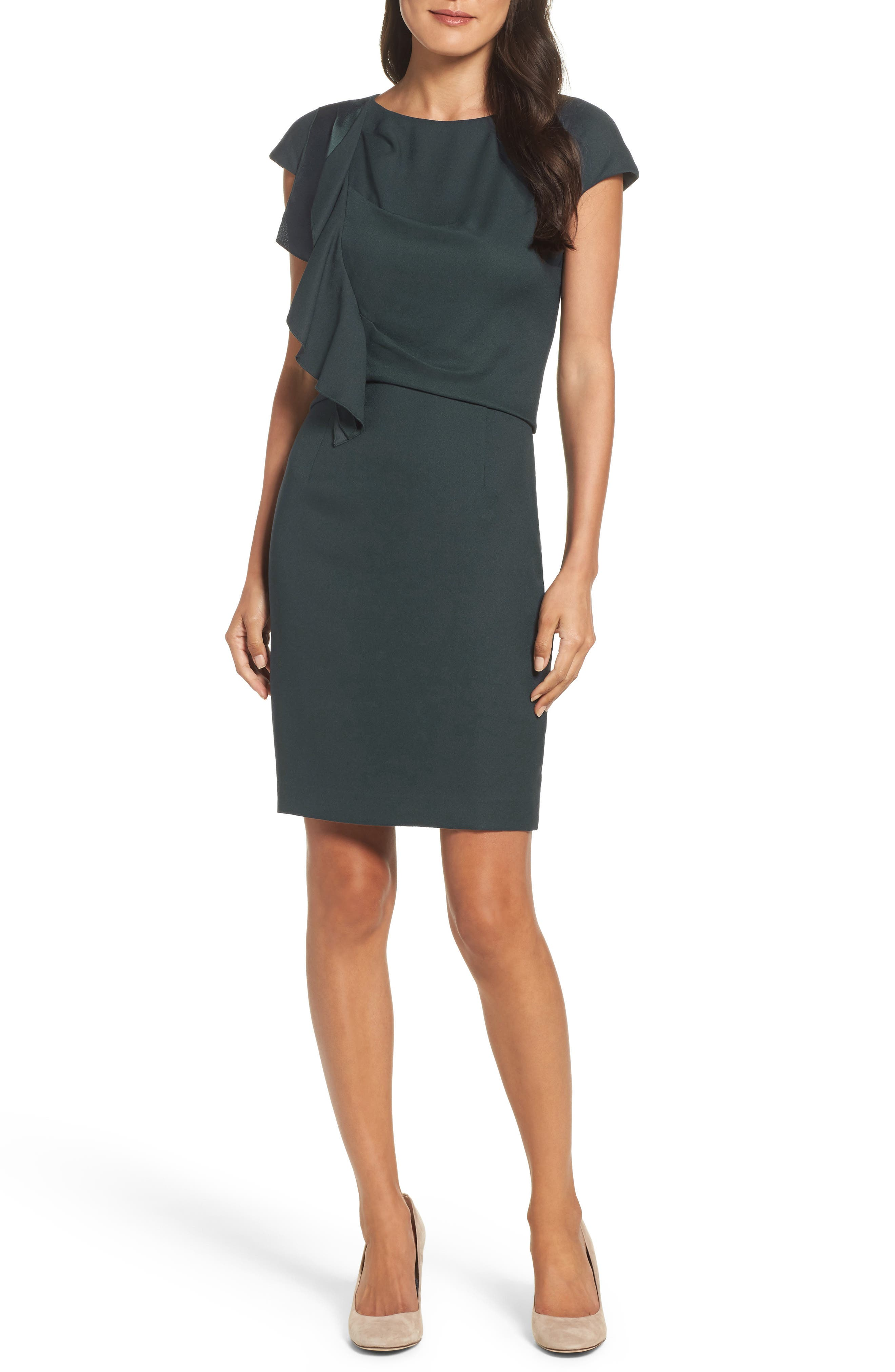 Eliza J Crepe Ruffle Sheath Dress (Regular & Petite)