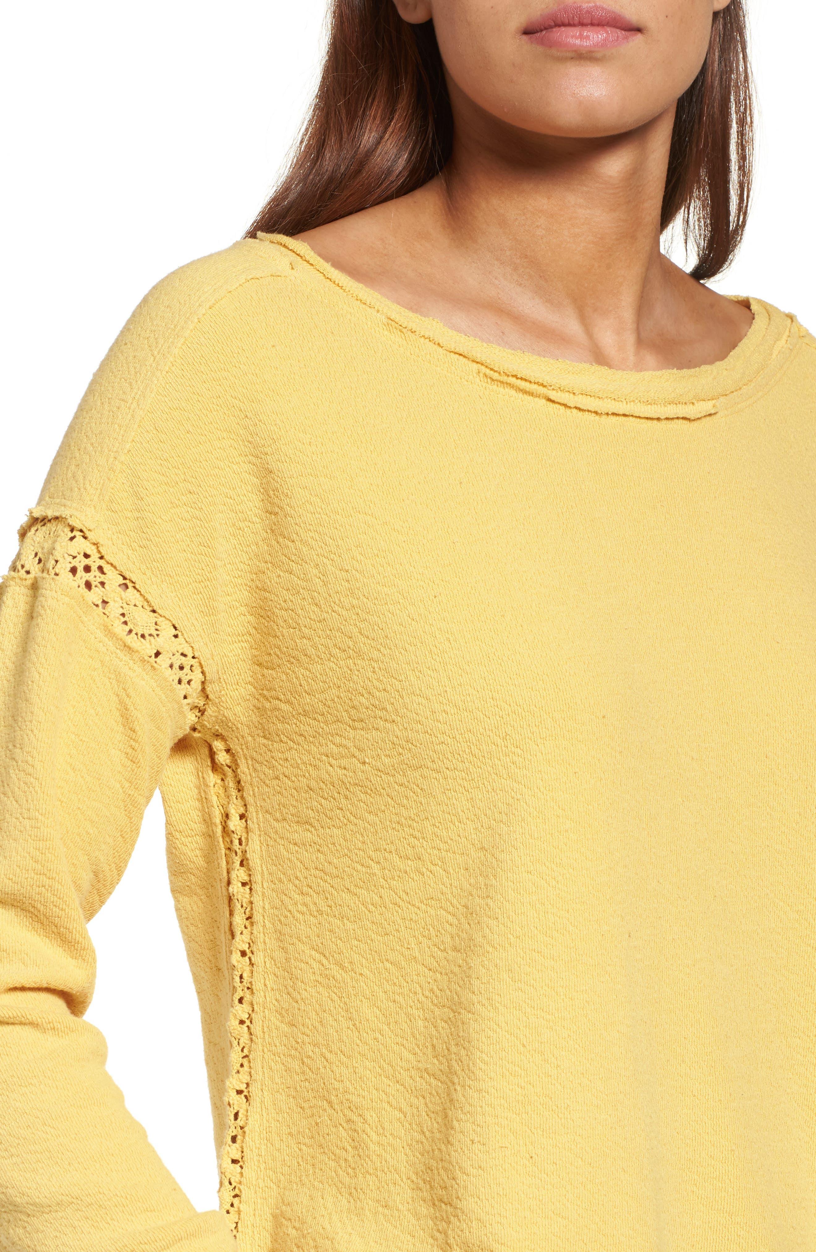 Alternate Image 4  - Caslon® Crochet Lace Trim Sweatshirt