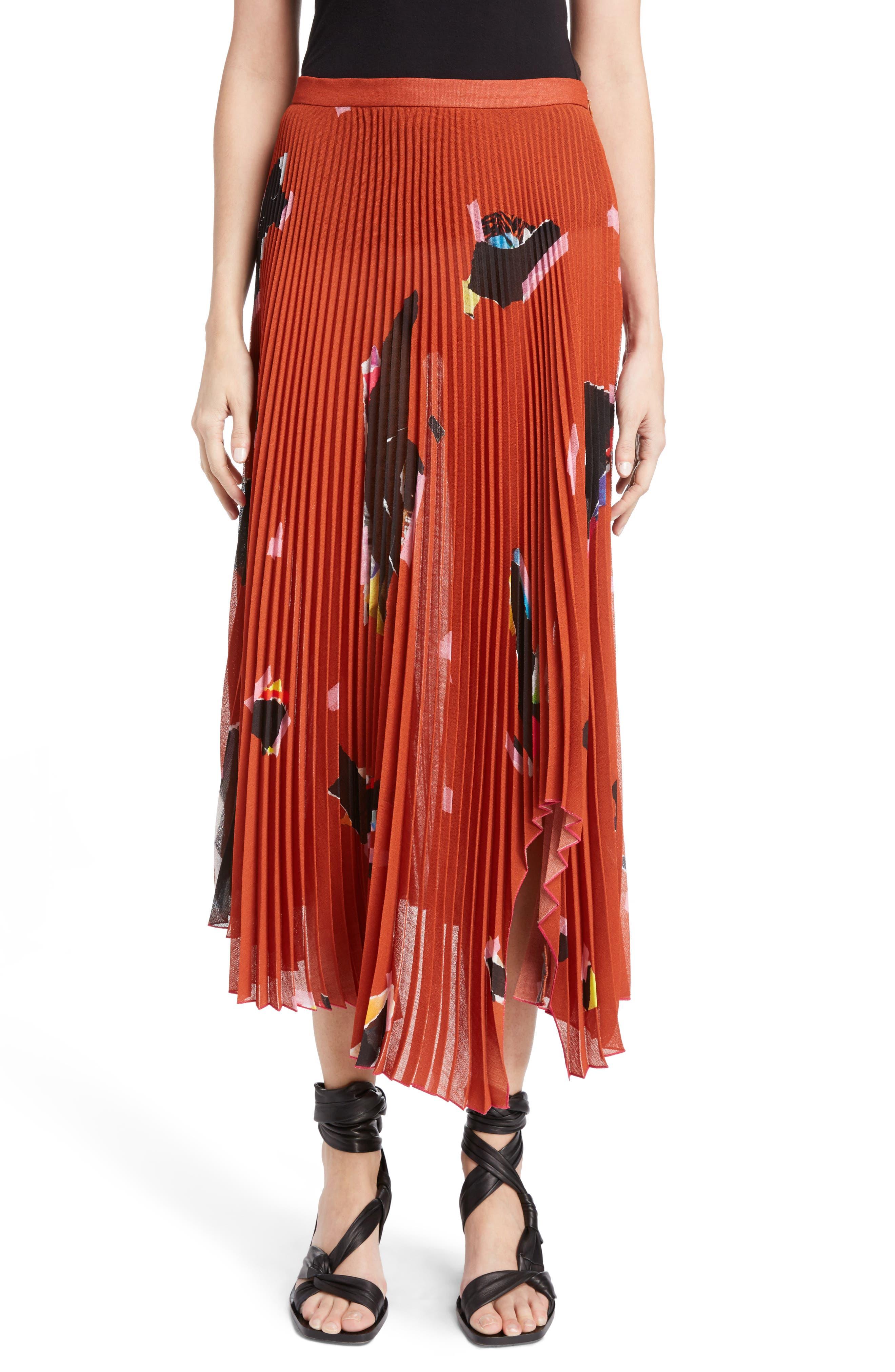Asymmetrical Pleated Skirt,                         Main,                         color, Orange