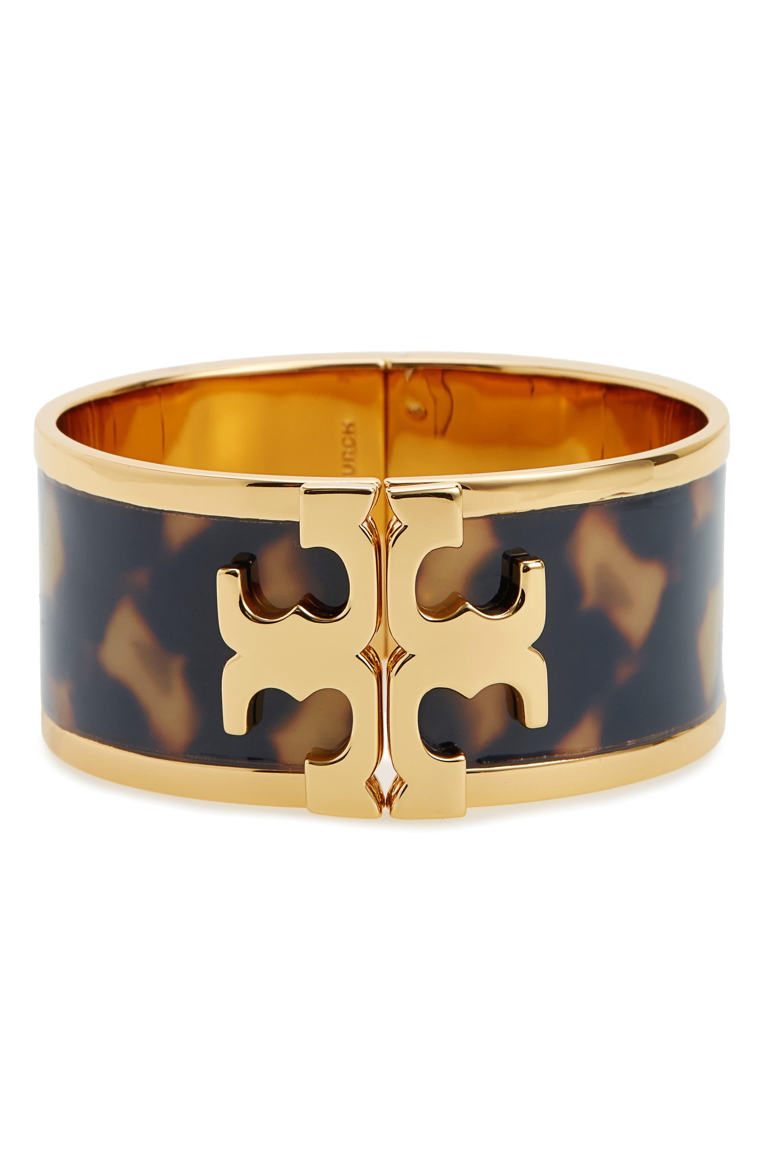 Logo Bracelet,                         Main,                         color, Tortoise / Tory Gold