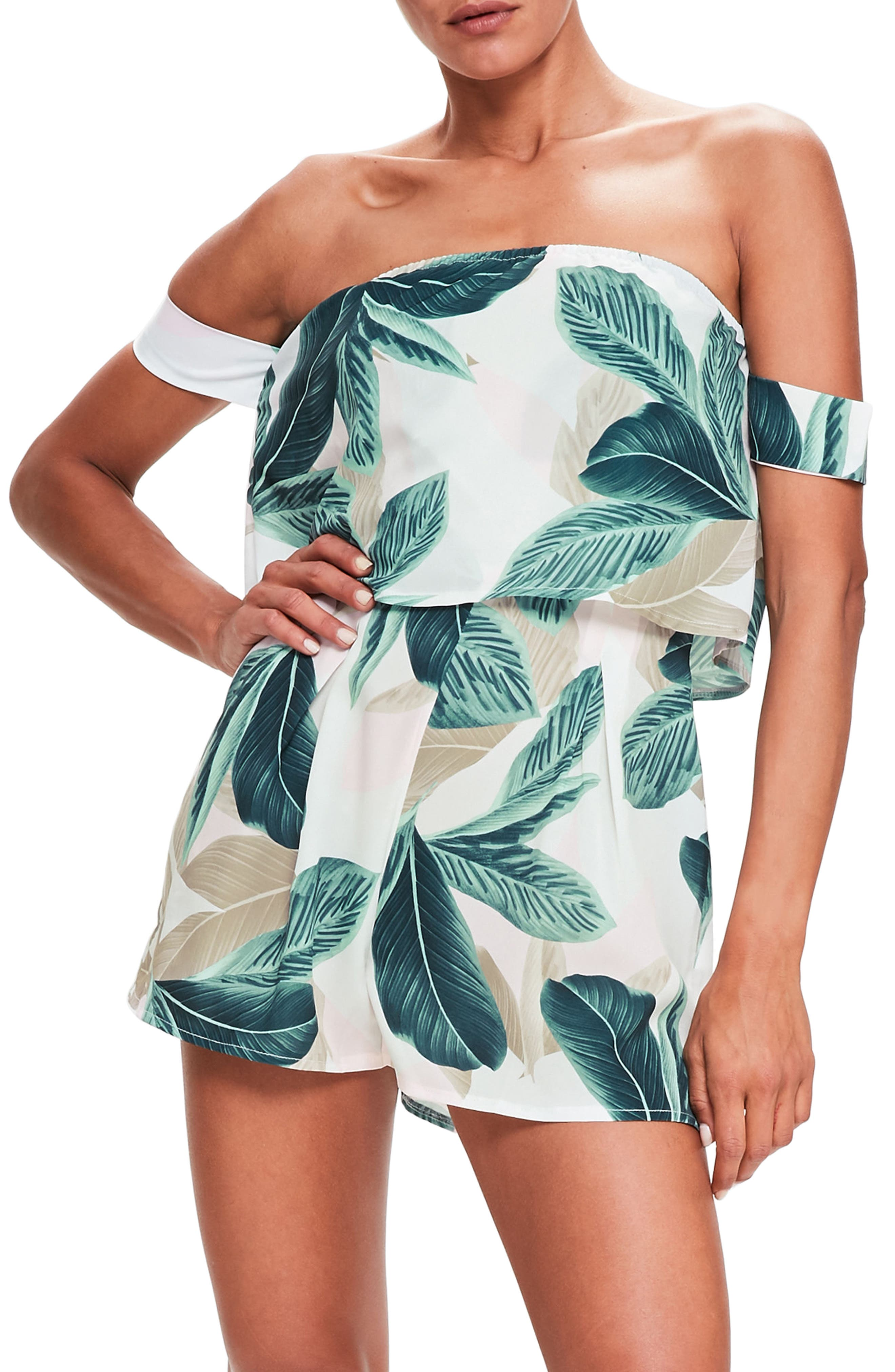 Main Image - Missguided Print Off the Shoulder Romper