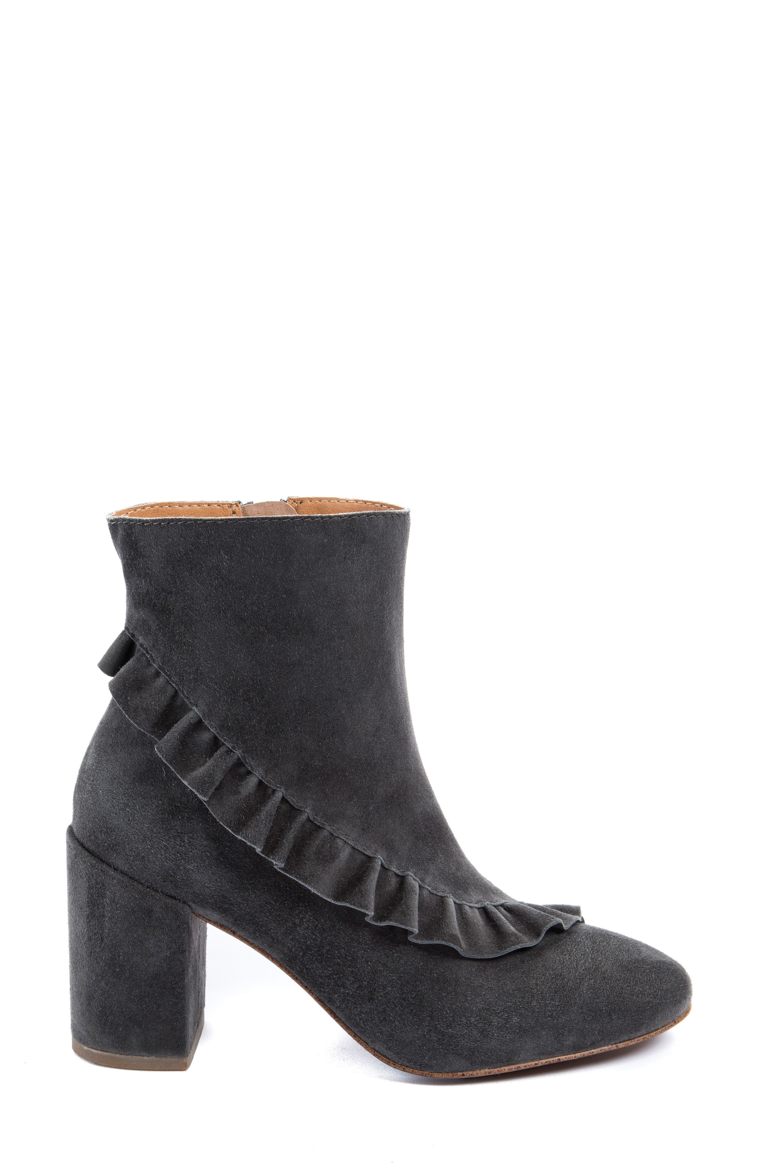 Kahlia Ruffle Bootie,                             Alternate thumbnail 3, color,                             Stone Suede