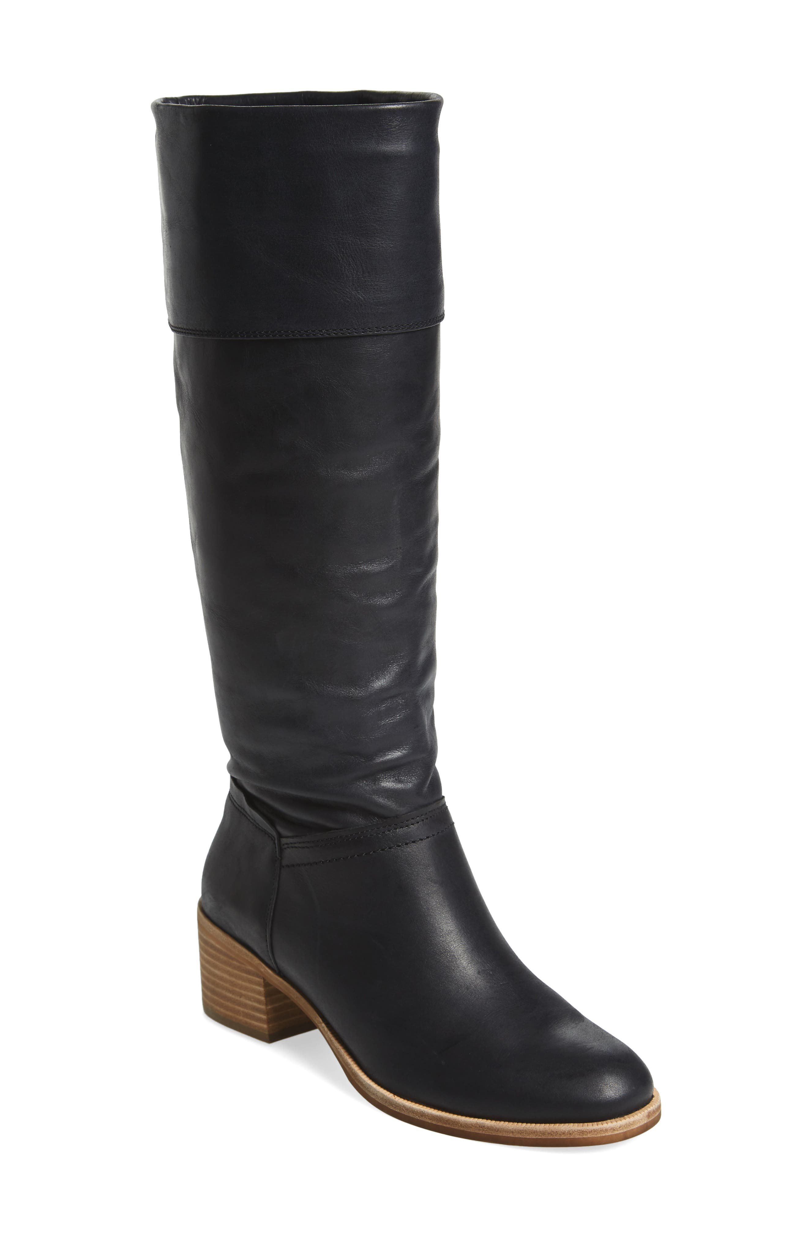 Carlin Tall Boot,                             Main thumbnail 1, color,                             Black Leather
