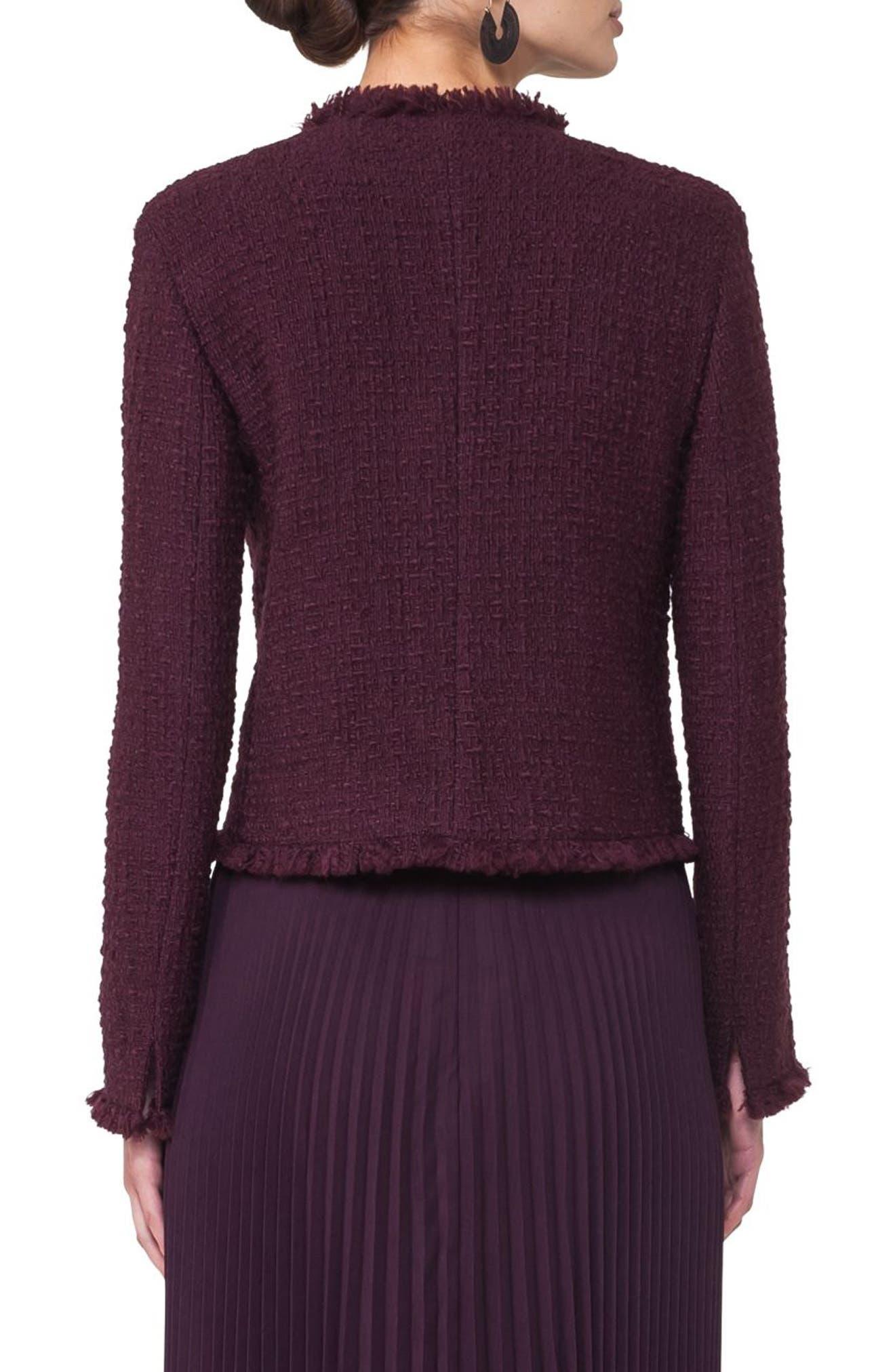 Tweed Jacket,                             Alternate thumbnail 2, color,                             Wine