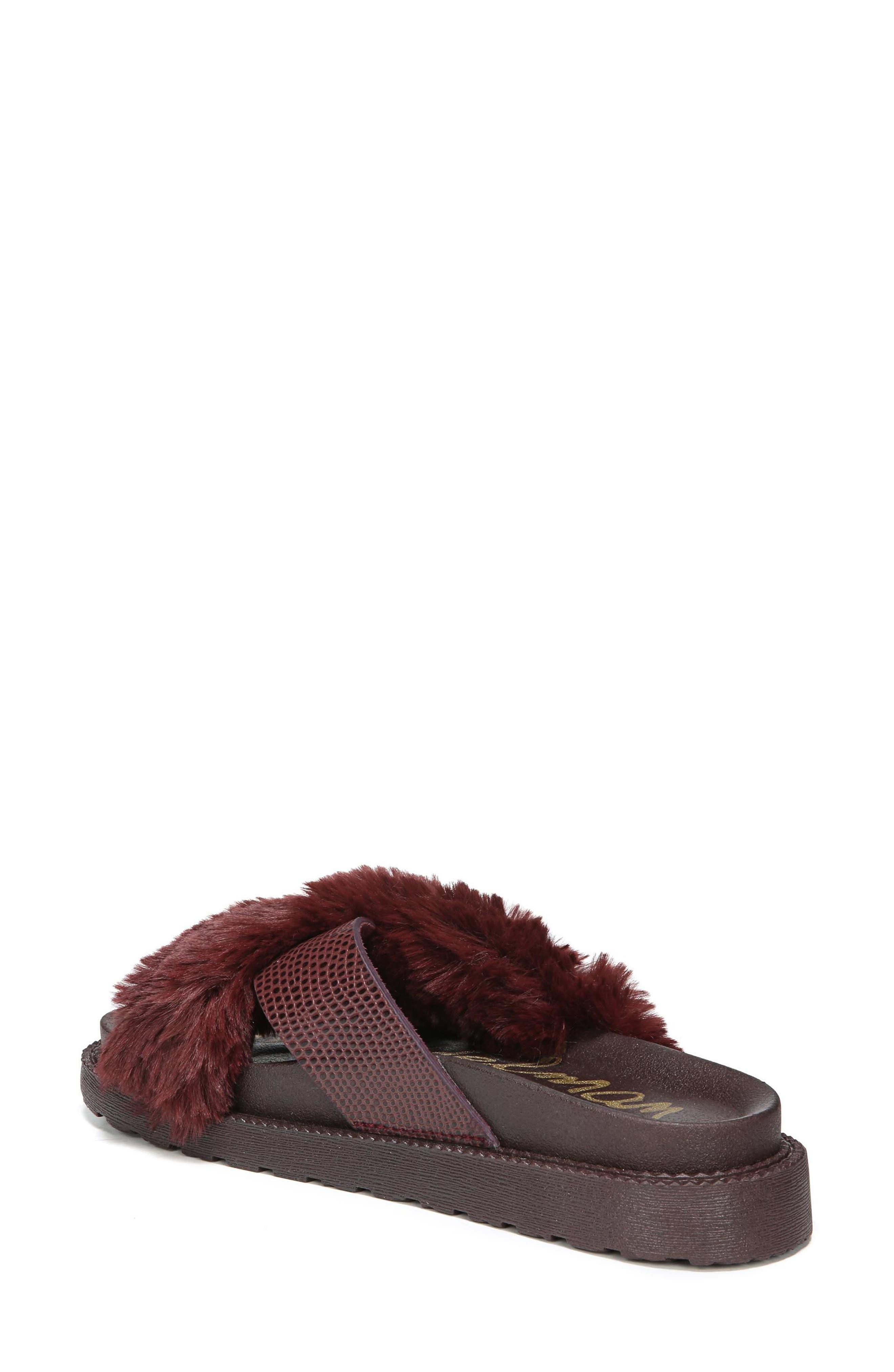 Alternate Image 2  - Sam Edelman Bianca Faux Fur Cross Strap Sandal (Women)