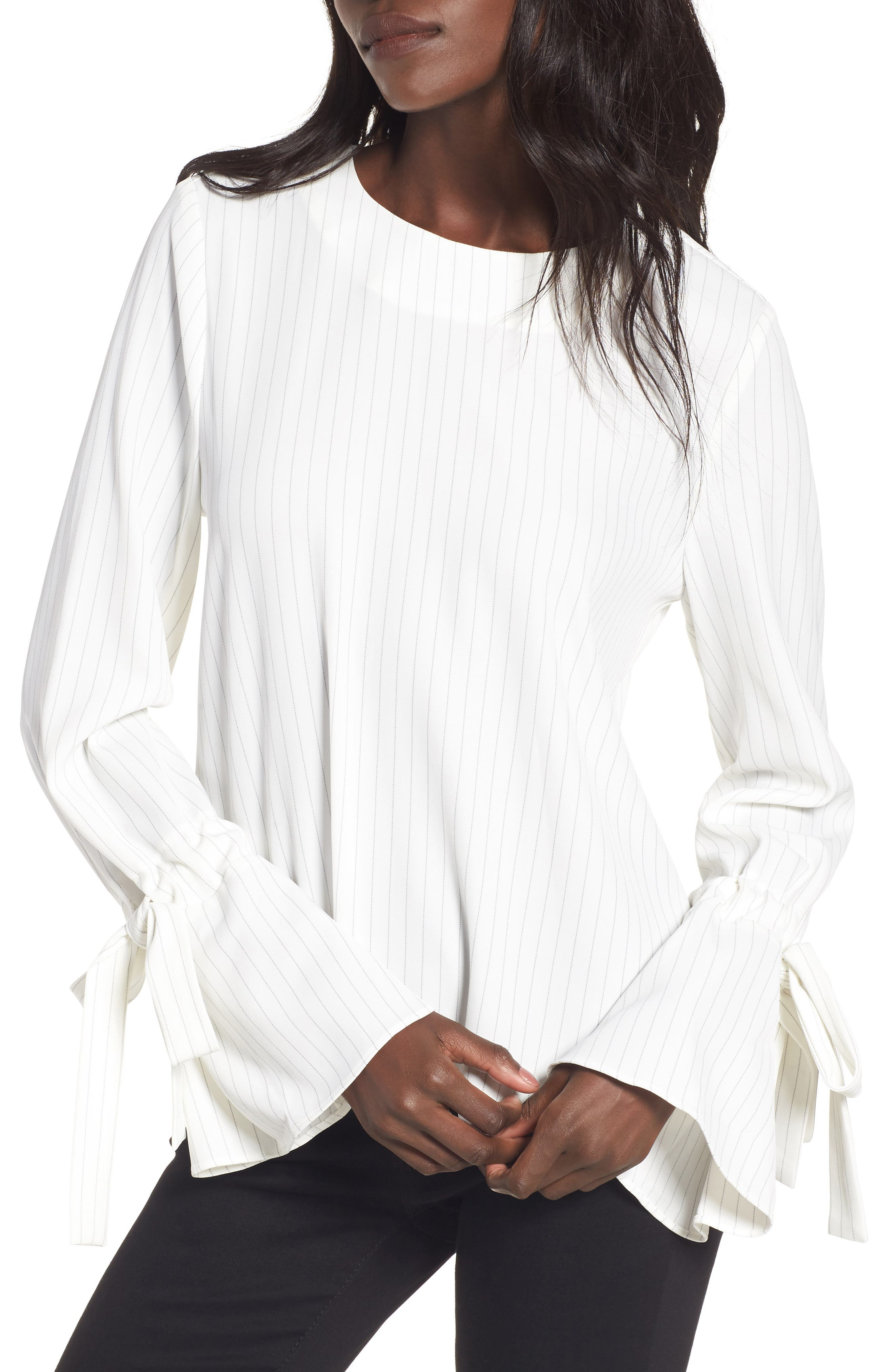 Pinstripe Tie Sleeve Top,                         Main,                         color, White